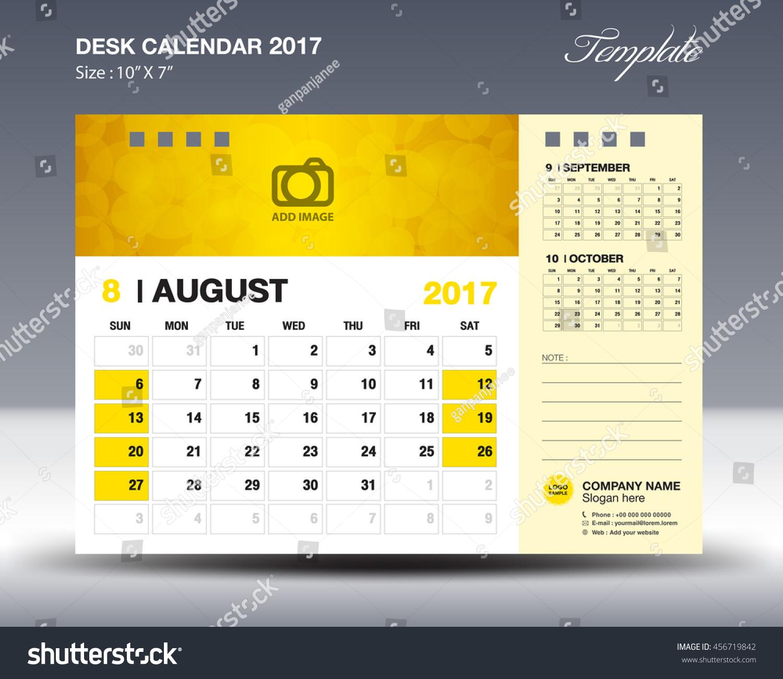 AUGUST Desk Calendar 2017 Template for business