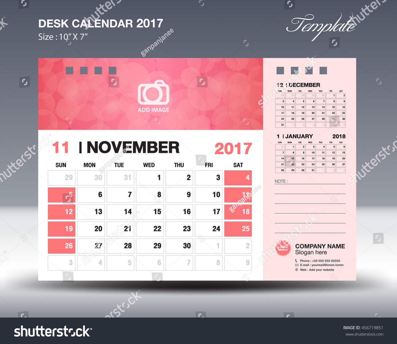 Corporate Calendar 2017 : November desk calendar template business stock vector