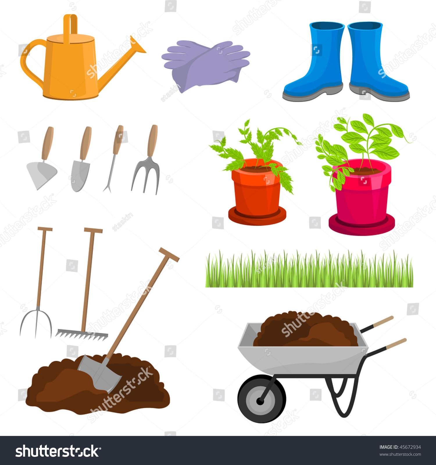 Garden tools vector illustration 45672934 shutterstock for Gardening tools vector