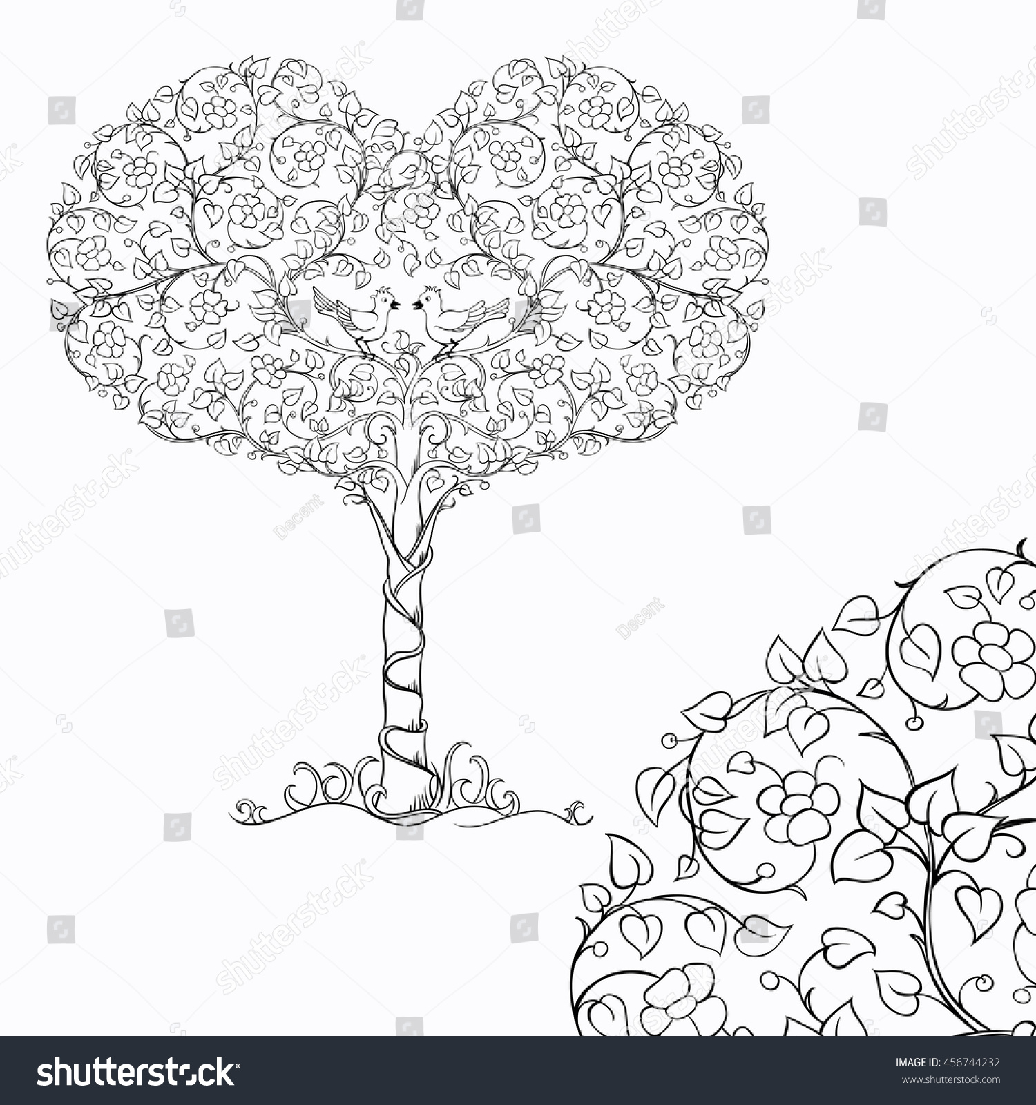 pair birds crown heart tree sketch stock vector 456744232