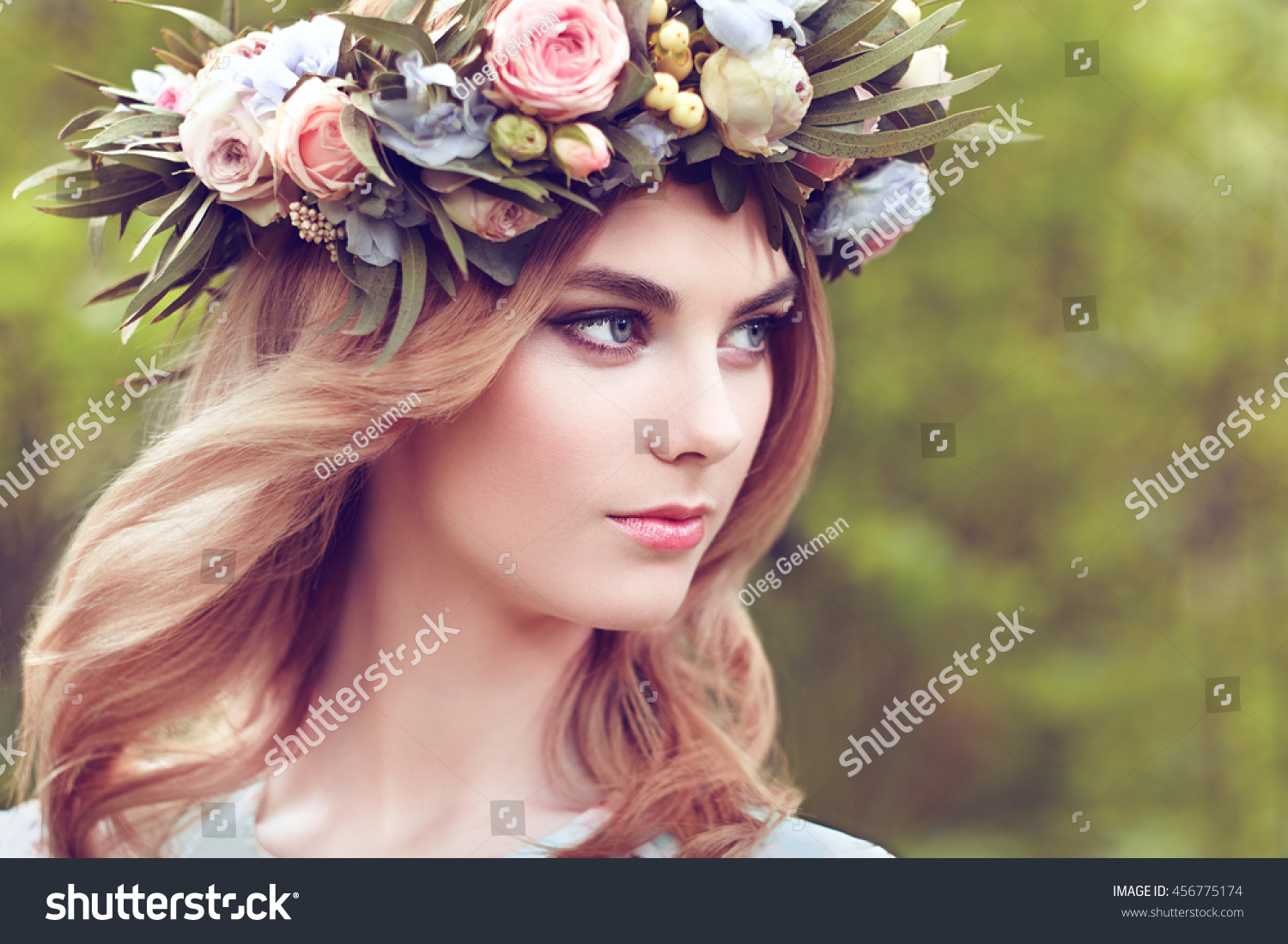 Beautiful blonde woman flower wreath on stock photo 456775174 beautiful blonde woman with flower wreath on her head beauty girl with flowers hairstyle dhlflorist Gallery
