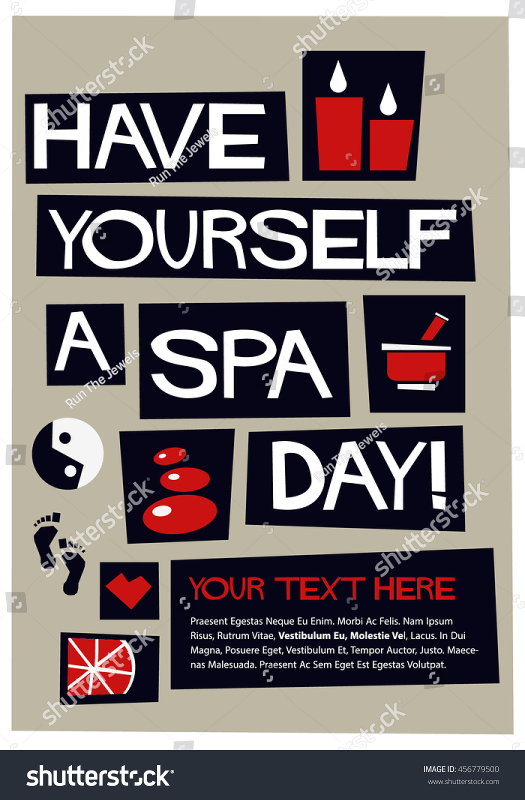 Have yourself spa day flat style stock vector royalty free have yourself a spa day flat style vector illustration quote poster design text box solutioingenieria Gallery