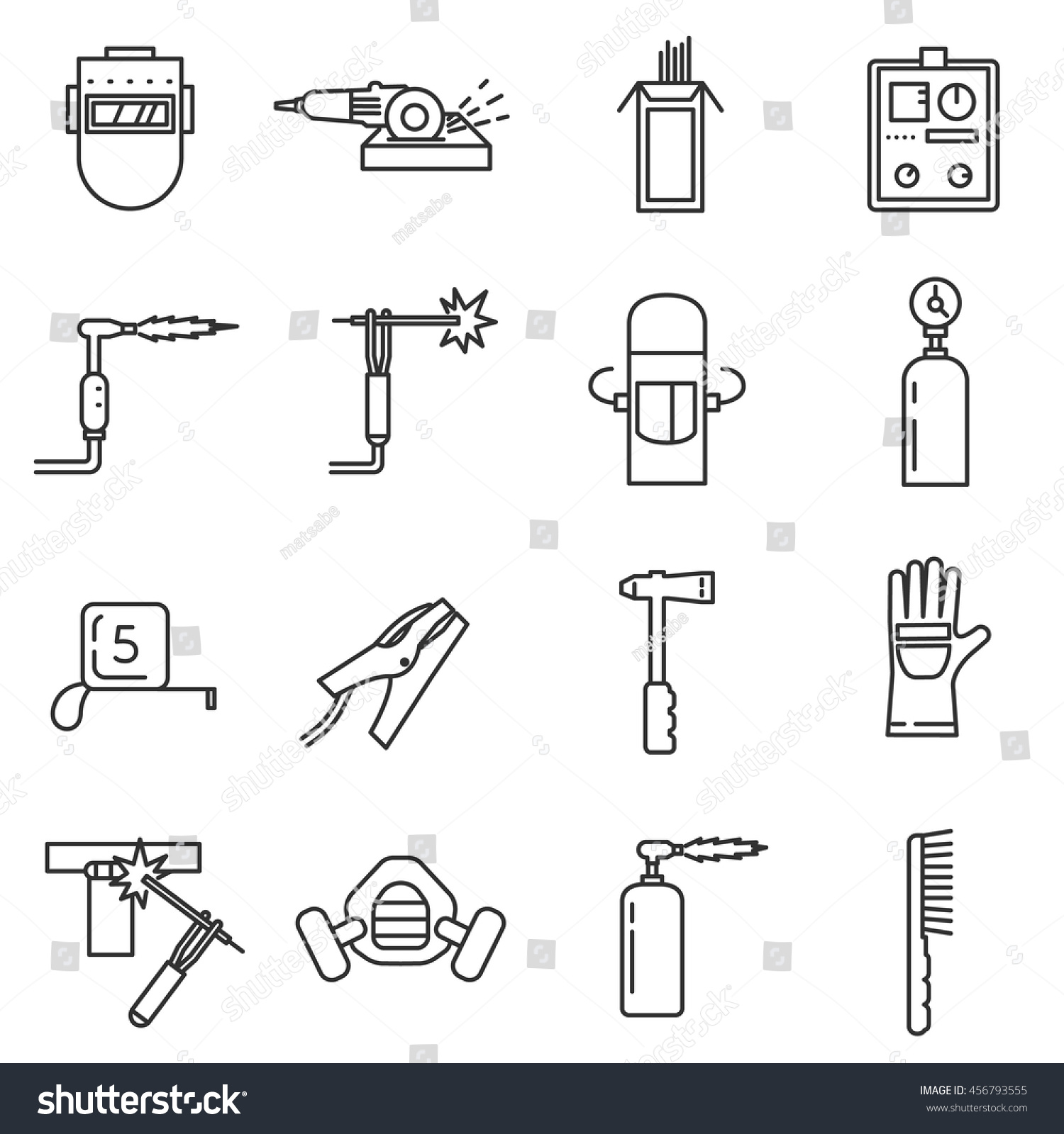 Welding Tools Diagram Wiring Diagrams Tig Welder Icon Set Thin Line Stock Vector Royalty Free Info