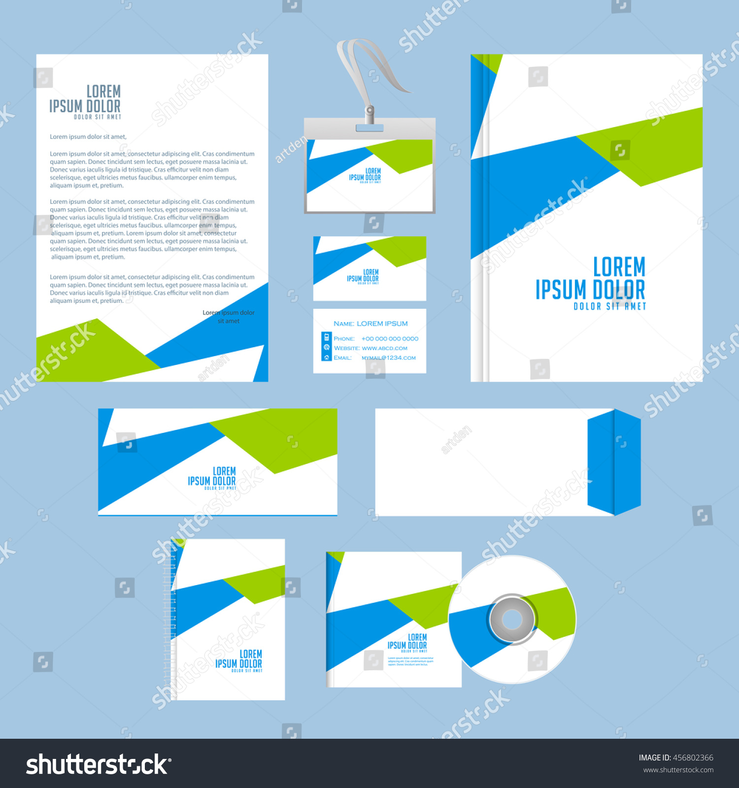 Creative Vector Office Stationary Design Template Stock Vector