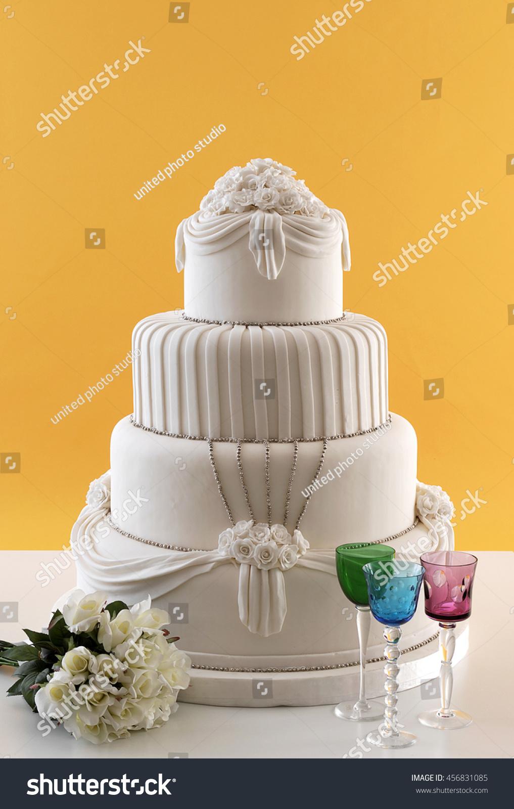 Wedding Cake White Wine Glass Behind Stock Photo (Edit Now ...