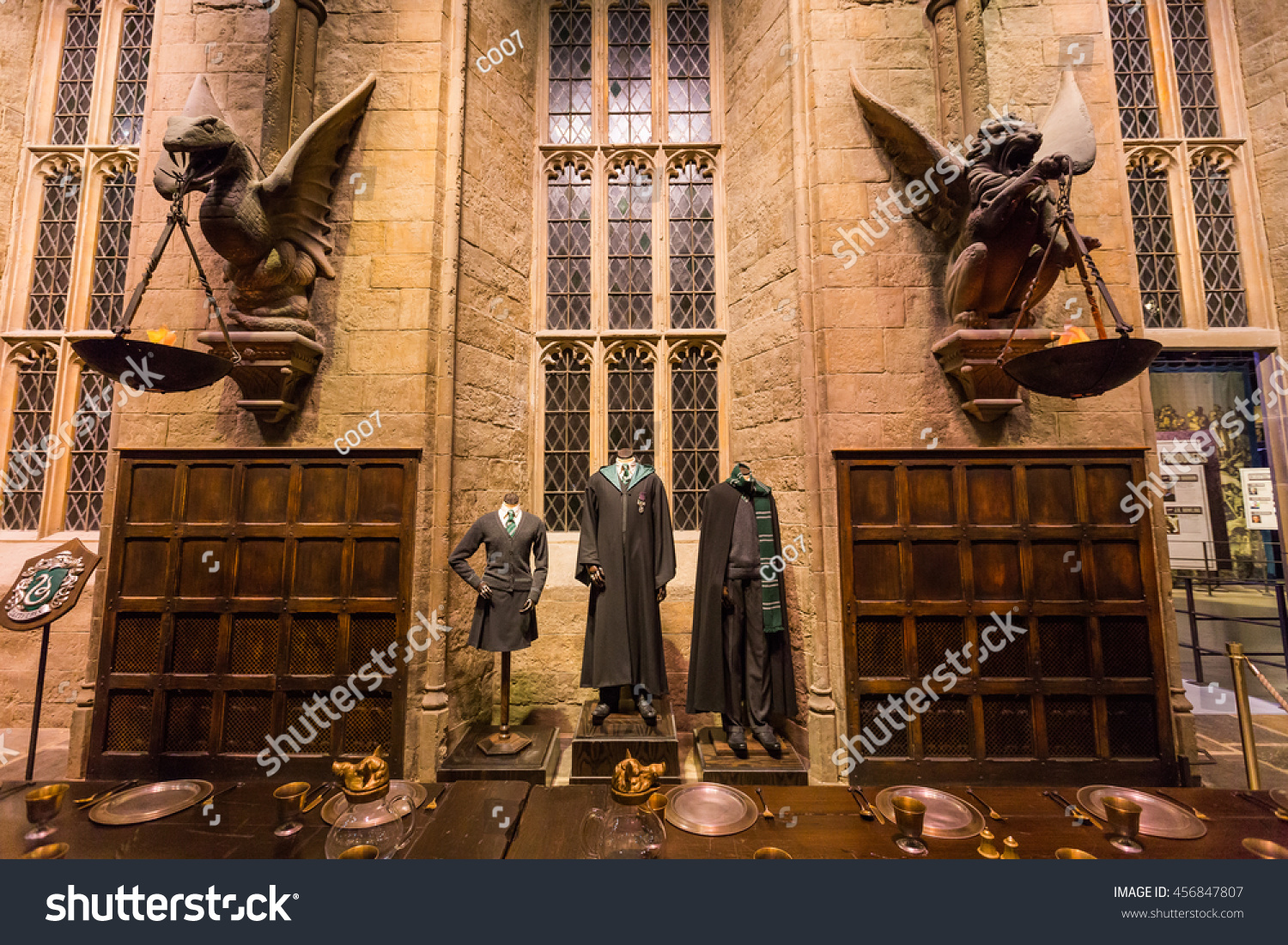 Leavesden London March 3 2016 The Hall in the Warner Brothers Studio tour The making of Harry Potter'.There is model of Slytherin from Harry Potter film
