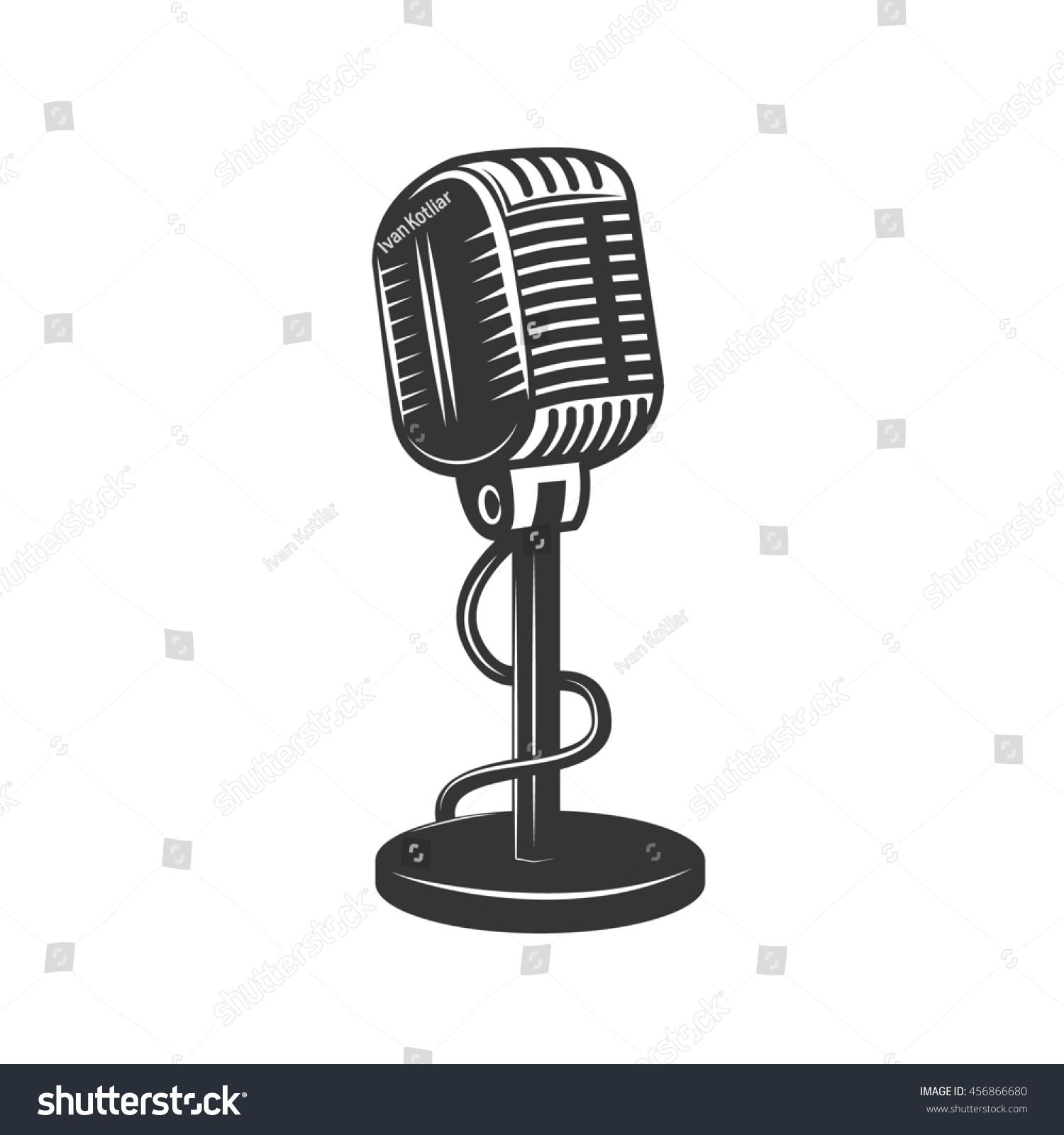 Royalty-free Retro monochrome microphone icon. Old… #456866680 Stock ...