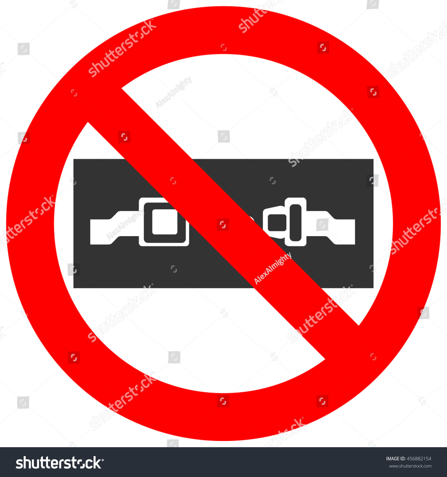 Forbidden Sign Safety Belt Icon Isolated Stock Vector
