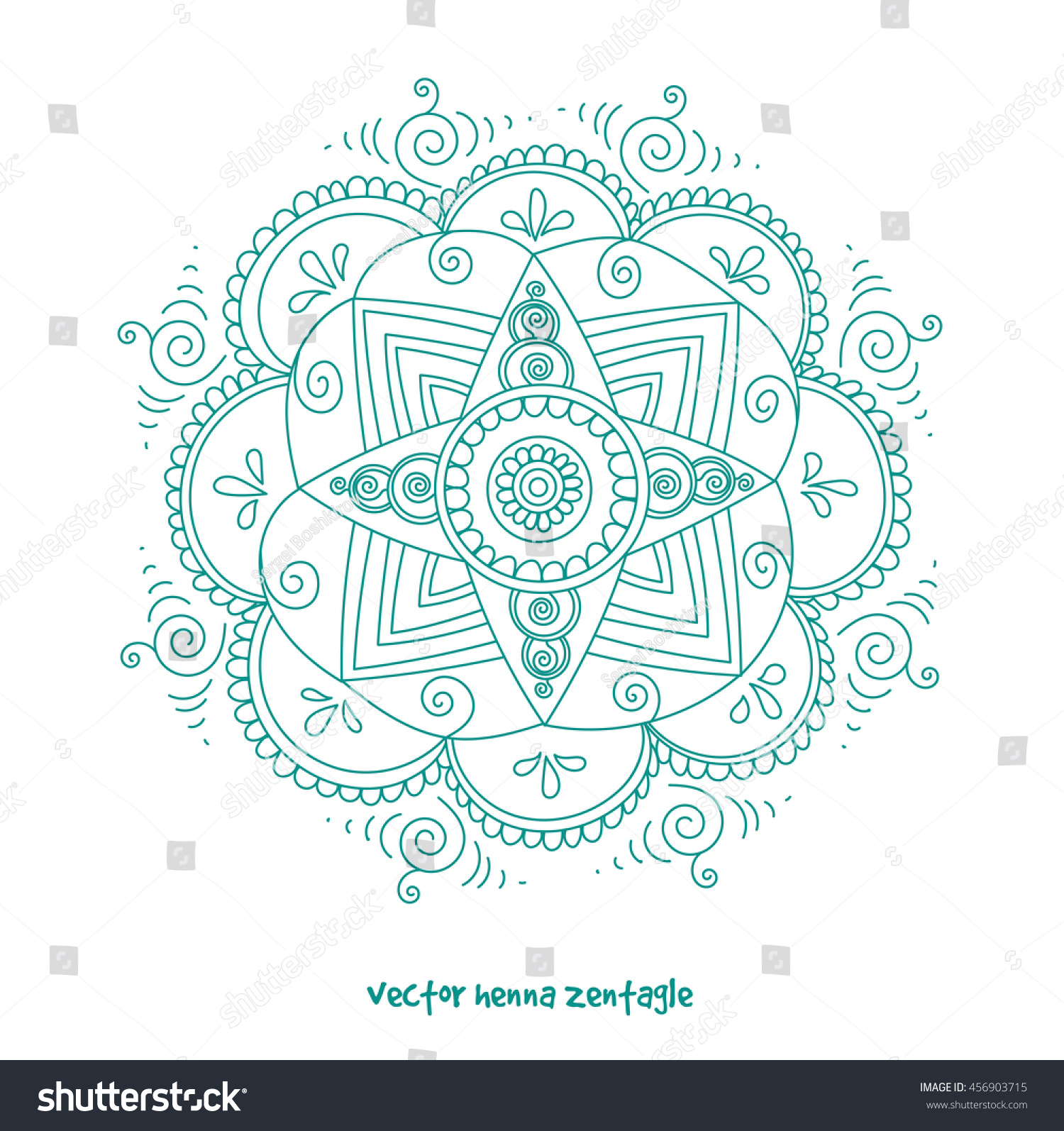 vector abstract mandala tattoo henna isolated stock vector 456903715 shutterstock. Black Bedroom Furniture Sets. Home Design Ideas