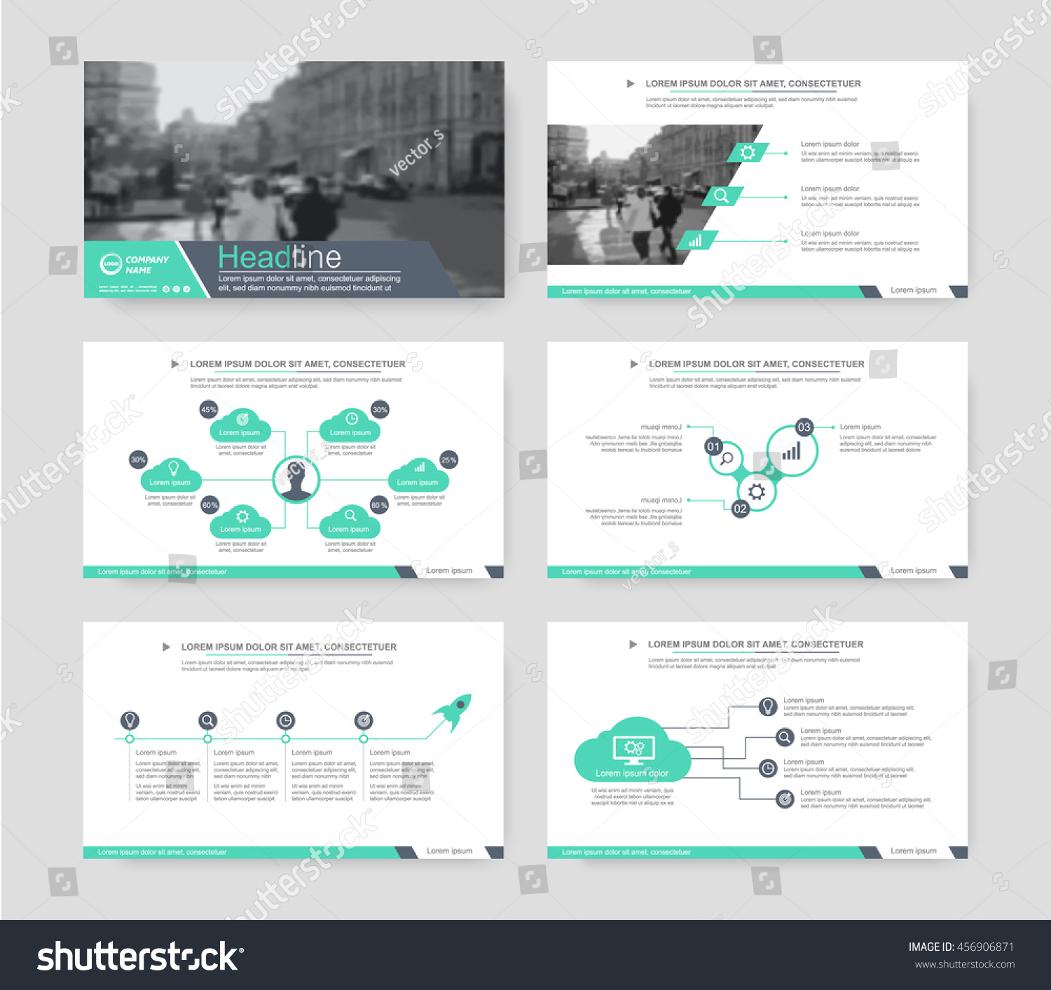 Green Elements Infographics Presentations Templates Leaflet Stock ...