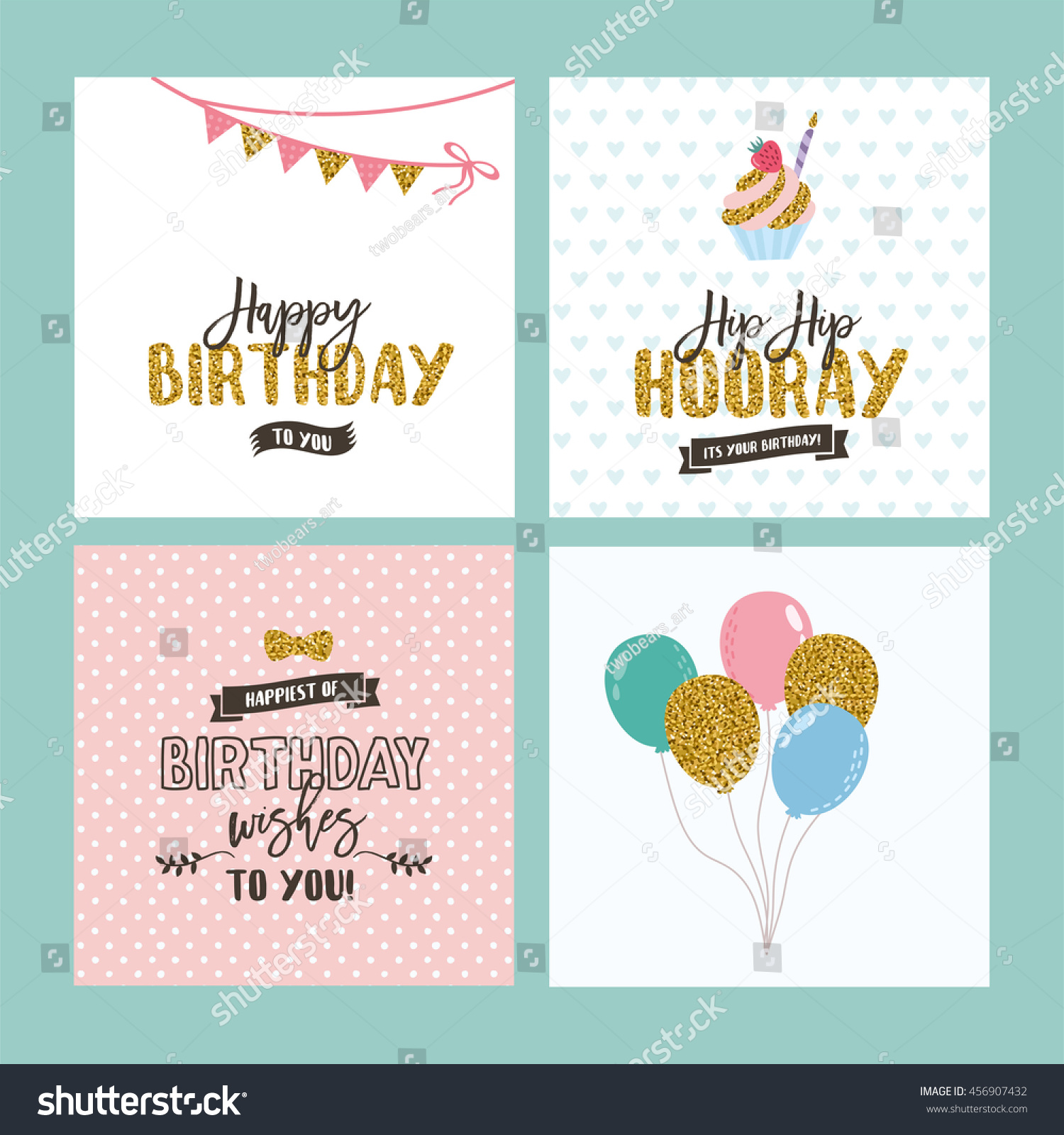 Set birthday greeting cards design glitter stock vector 456907432 set of birthday greeting cards design with glitter amazing typography with golden sequins cake kristyandbryce Image collections