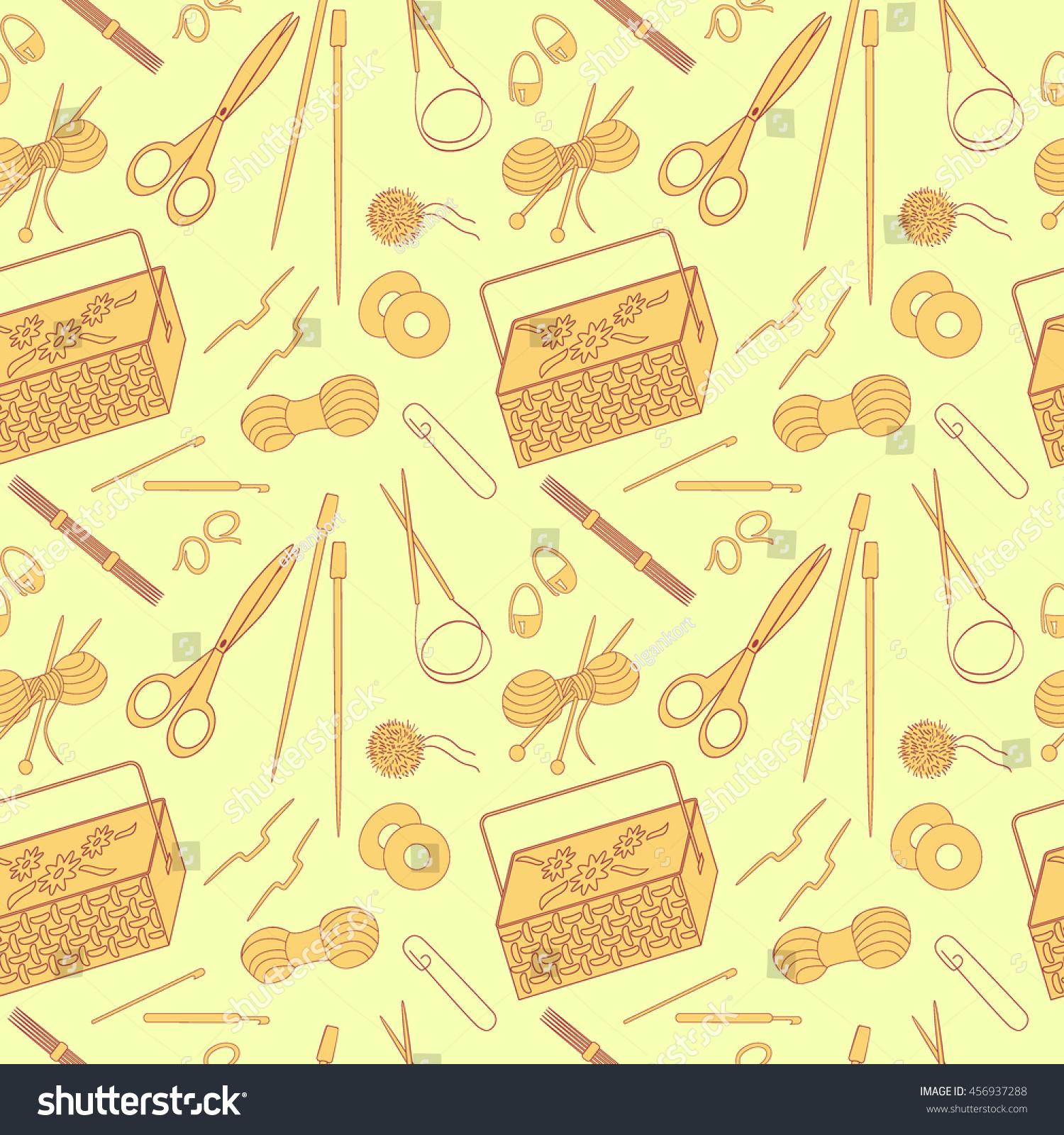 Seamless Pattern Knitting Crafts Icons Knitting Stock Vector ...