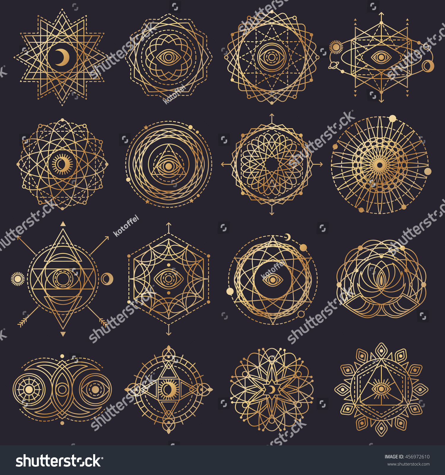 Sacred geometry forms eye moon sun stock vector 456972610 sacred geometry forms with eye moon sun vector illustration geometric logo design biocorpaavc Images