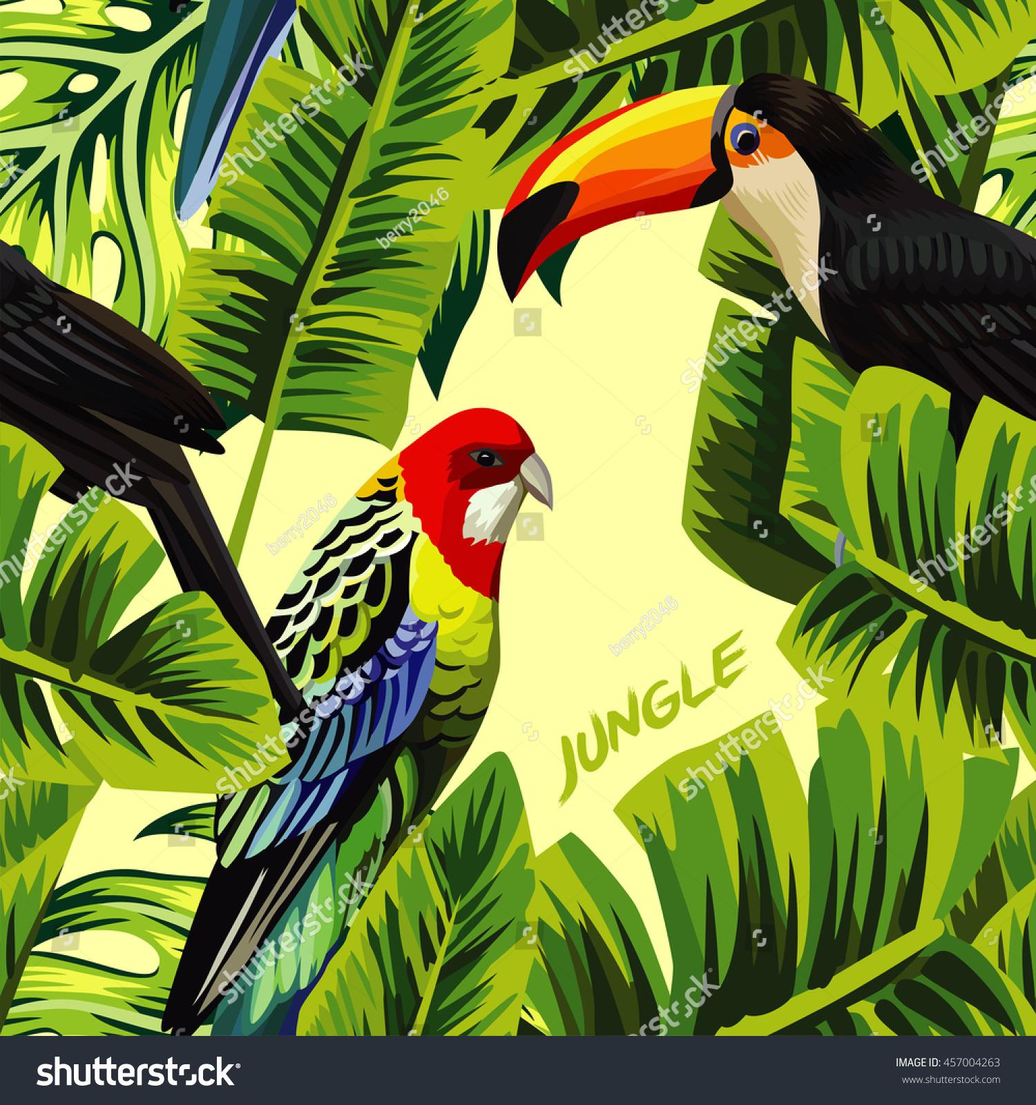 Tropic Bird Toucan Multicolor Parrot On Stock Vector 457004263