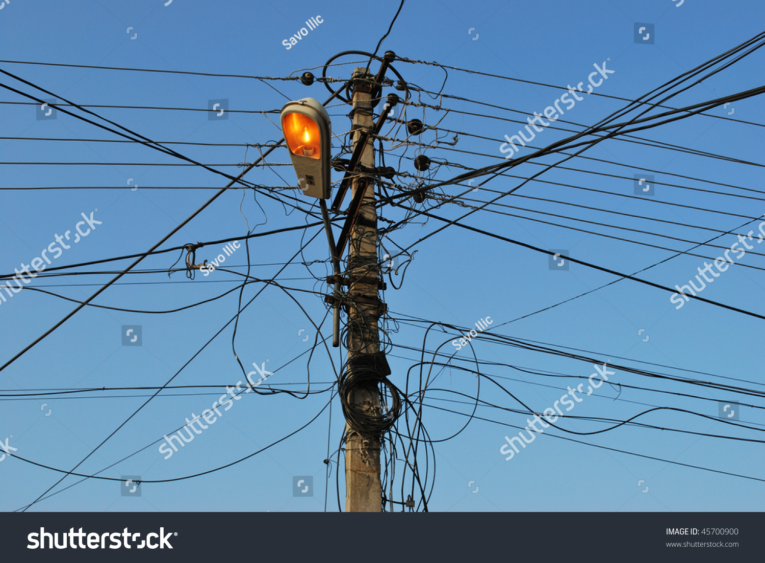 Lamp Post Messy Wire Street Light Stock Photo Edit Now 45700900 Wiring A With And Switched On