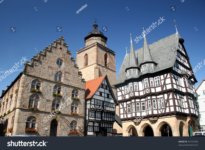 Historic Center German City Alsfeld Weinhaus Stock Photo 45701830