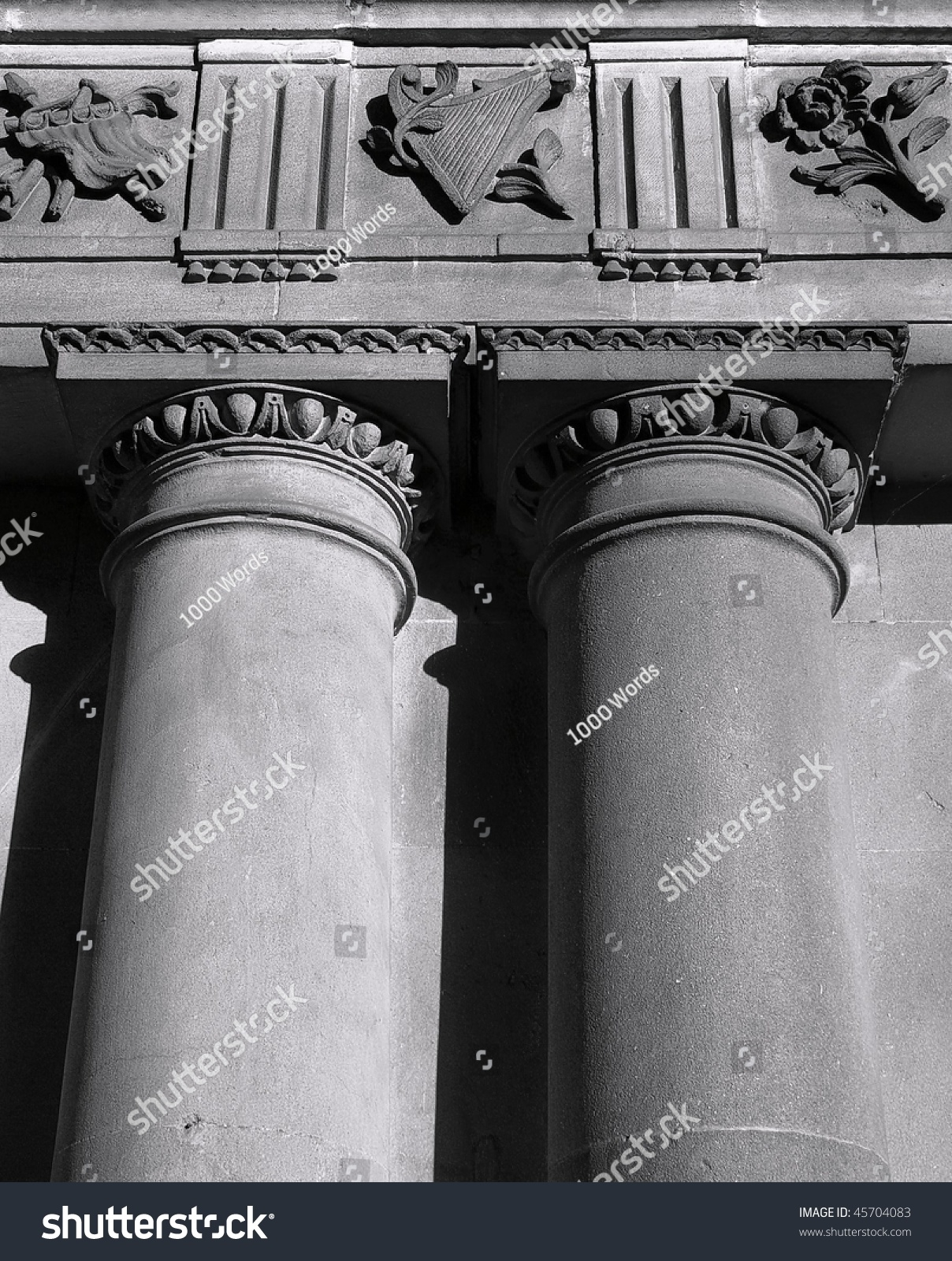 Close Up Detail Of Palladian Architecture Specifically Columns The Doric Order And Entablature At