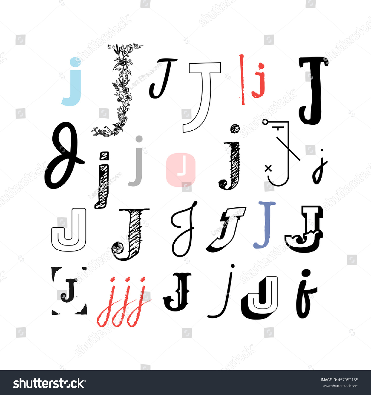 Set Letter J Different Style Collection Stock Vector Royalty Free