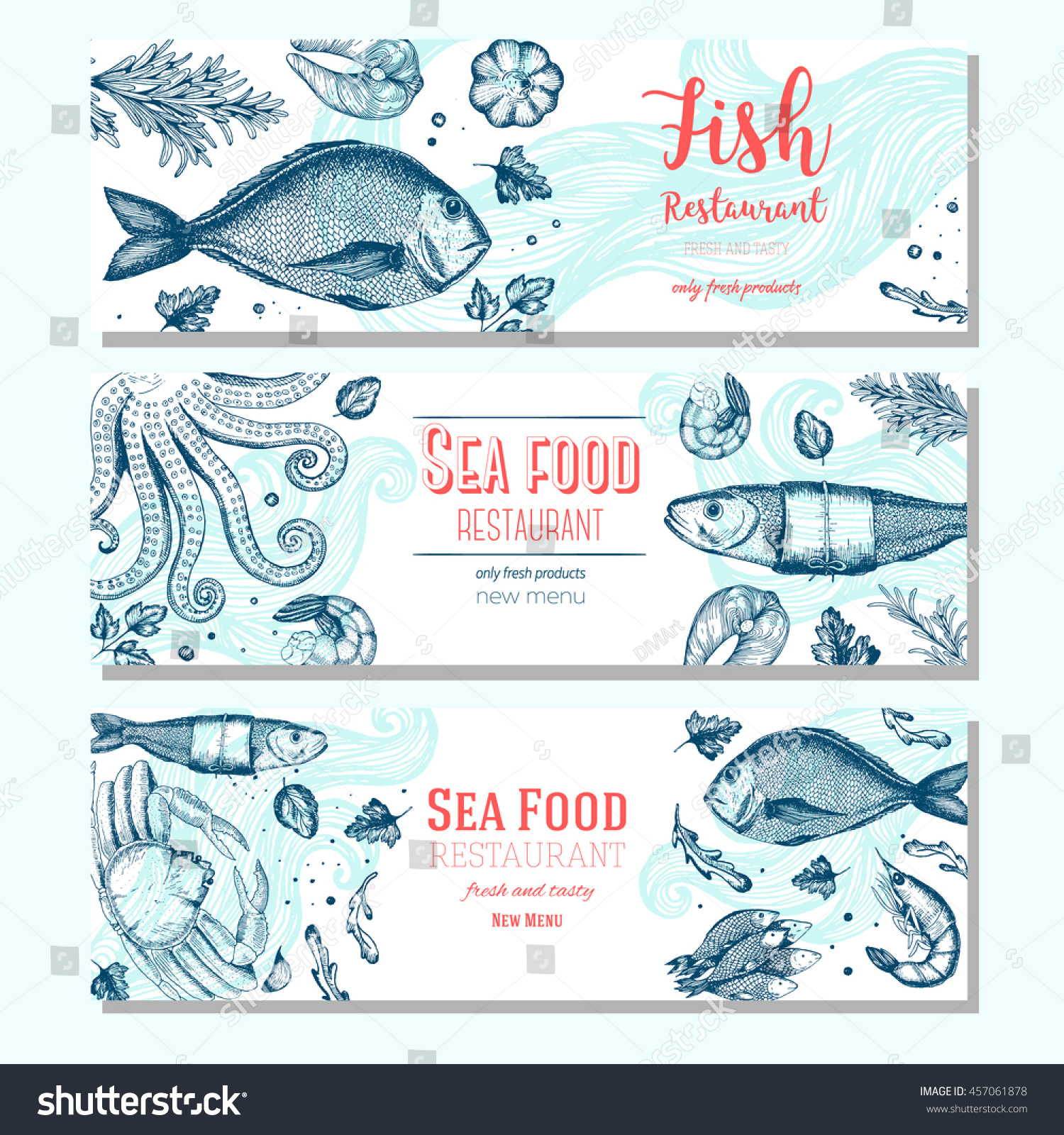 horizontal menu templates free download - seafood vintage design template horizontal banners stock