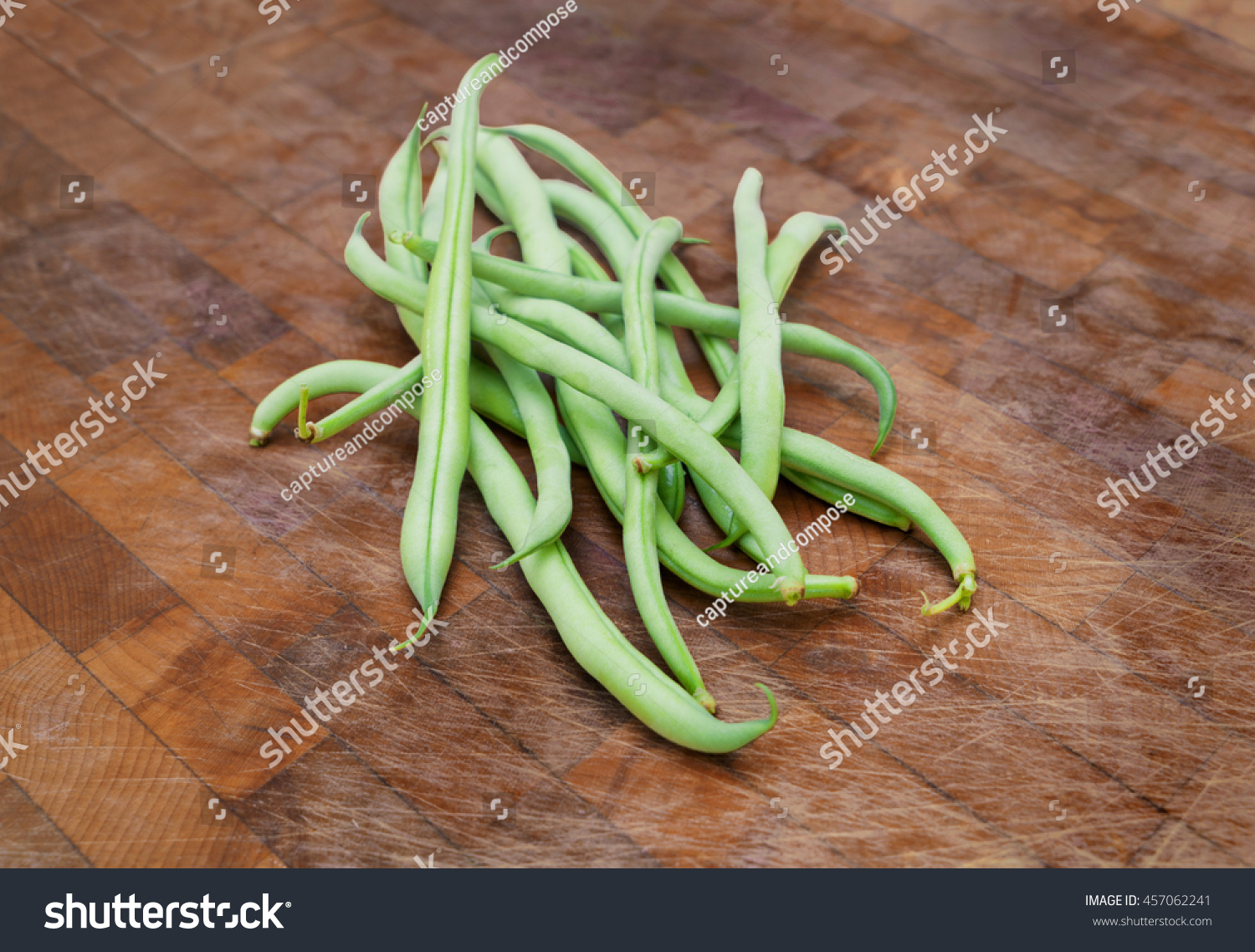 Fresh Green Beans Picked from the Garden on a Cutting Board | EZ Canvas