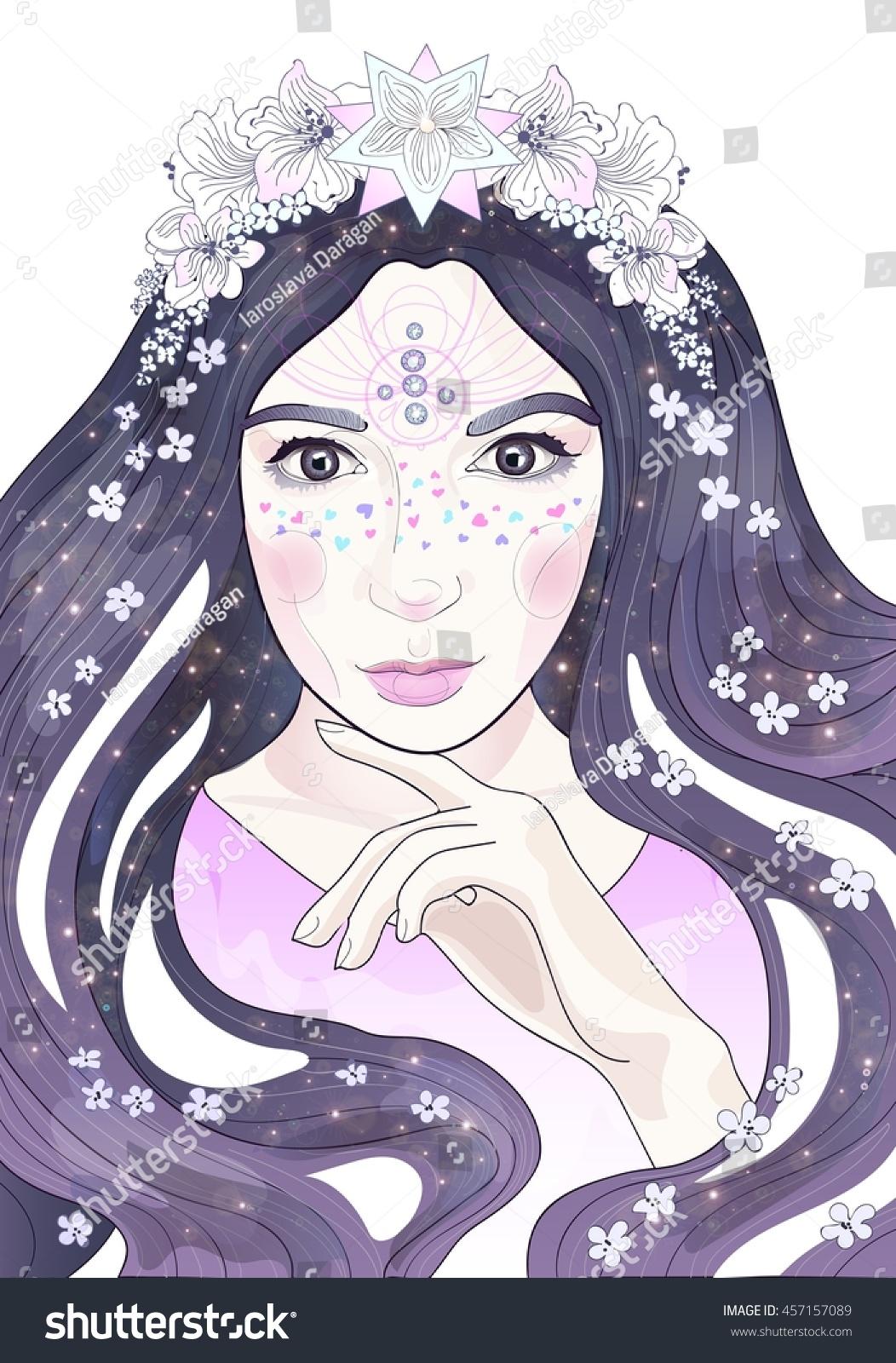 beautiful anime girl flowers stars long stock illustration 457157089