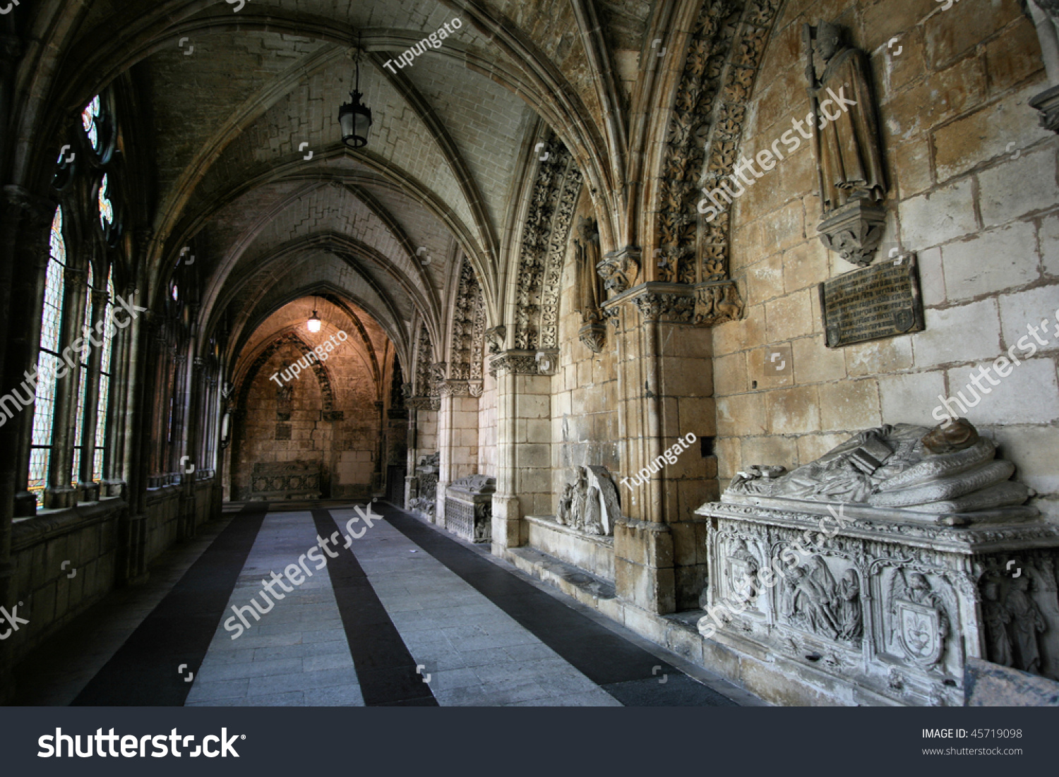 Gothic Interior Medieval Tombs Corridor Cathedral Stock ...