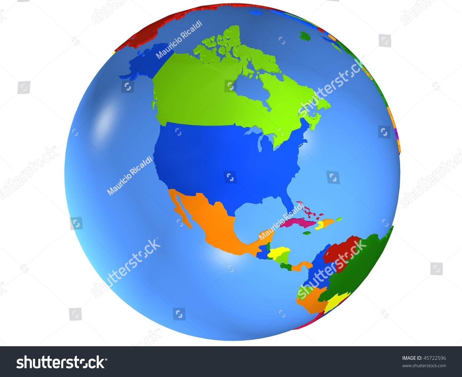 North America Globe Map Country Different Stock Illustration - Globe map with countries