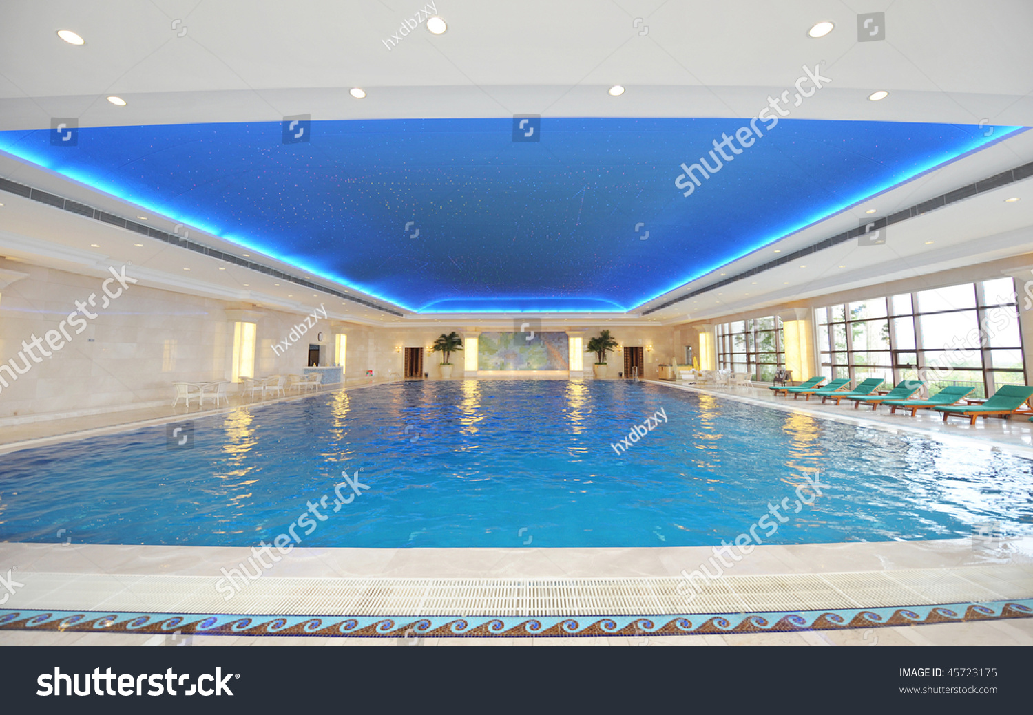 Luxury Indoor Swimming Pool With Beautiful Clean Blue Water Stock Photo 45723175 Shutterstock