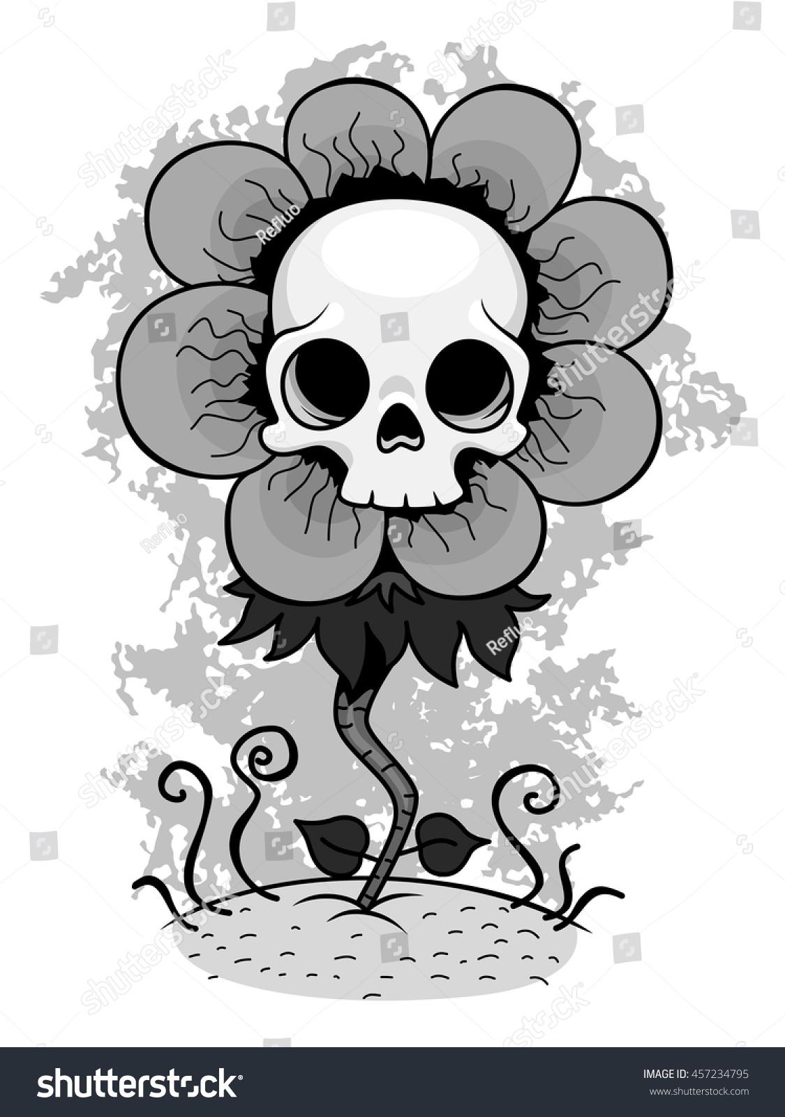 Skull Flower Stock Vector Shutterstock