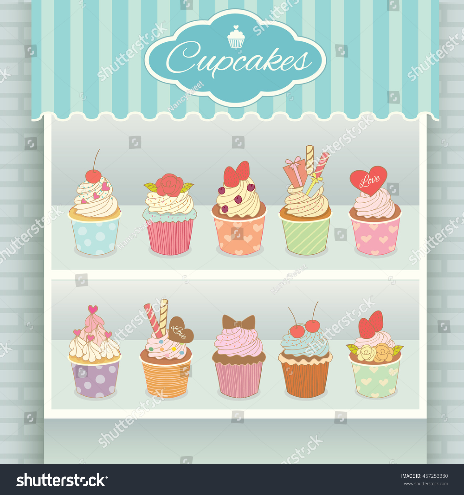 illustration vector various cupcakes menu display stock vector