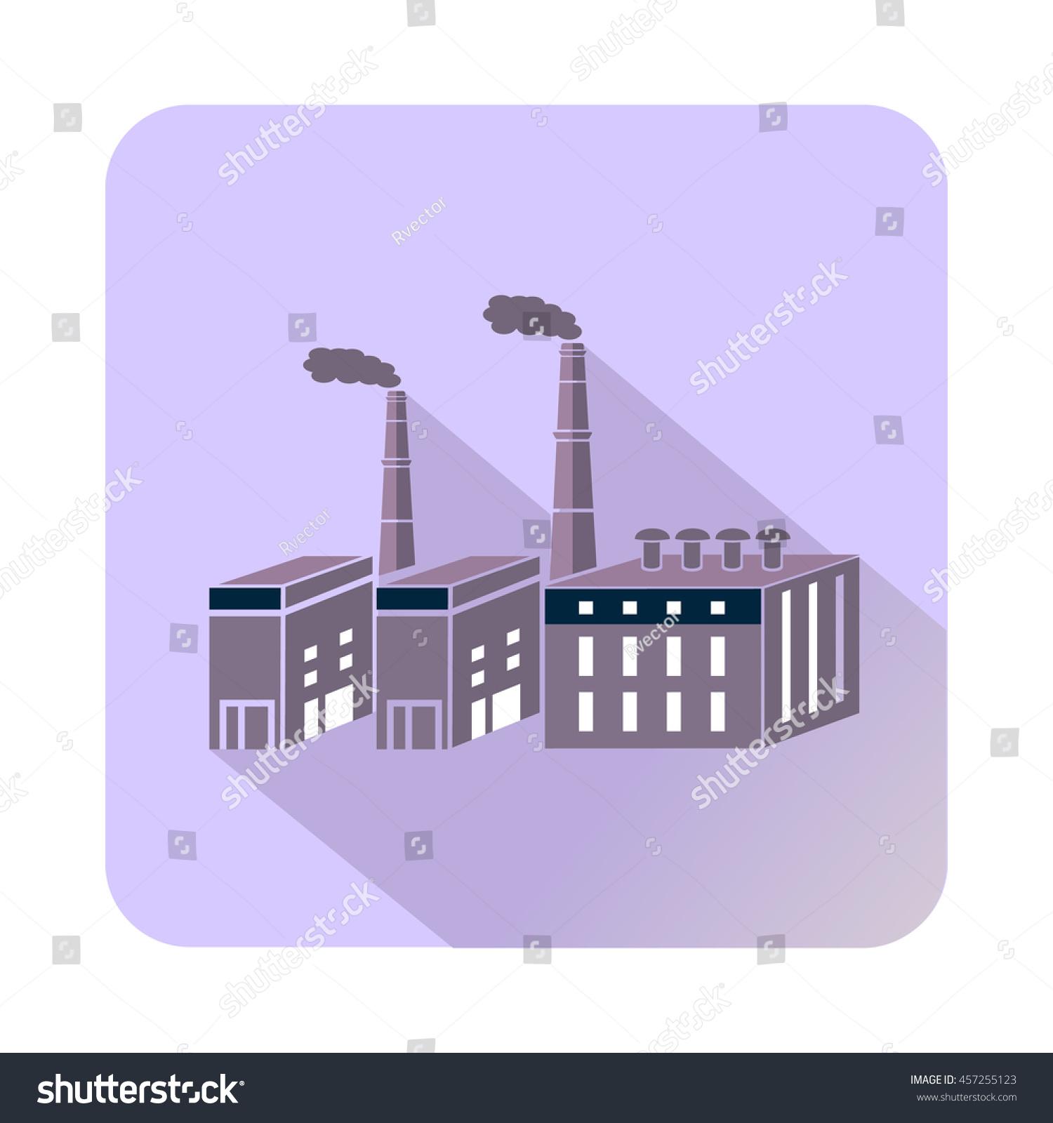 Large chemical plant icon flat style stock vector 457255123 large chemical plant icon in flat style with long shadow chemistry symbol buycottarizona