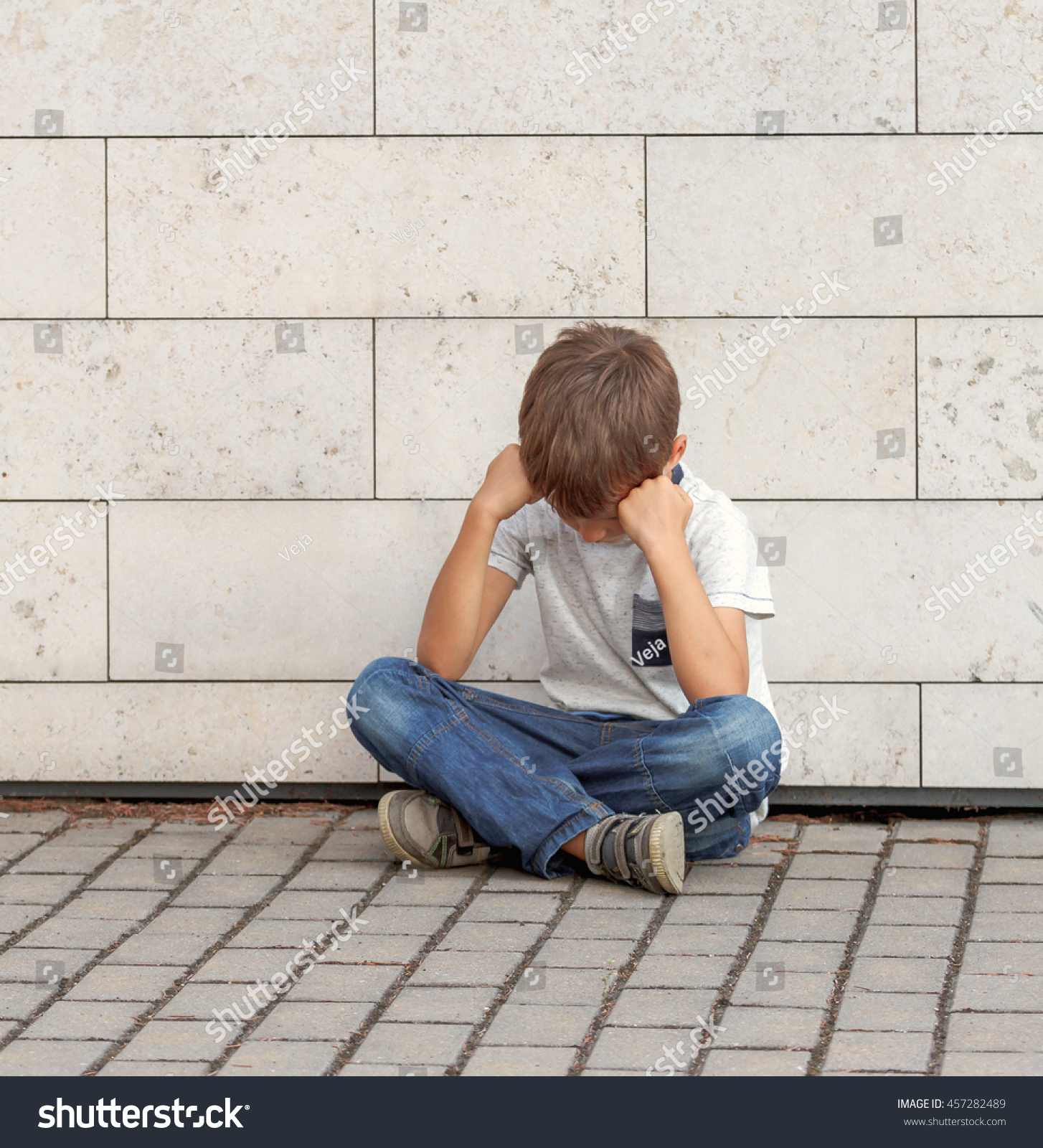 Sad Boy Alone Quotes: Sad Lonely Unhappy Disappointed Child Sitting Stock Photo