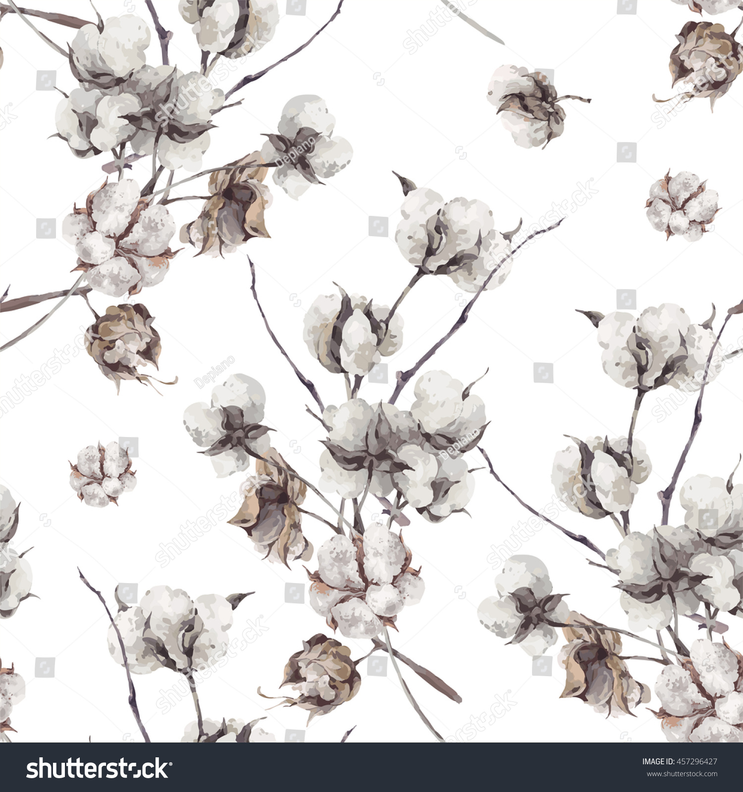Vintage vector bouquet of twigs and cotton flowers. Botanical illustrations. Seamless pattern.
