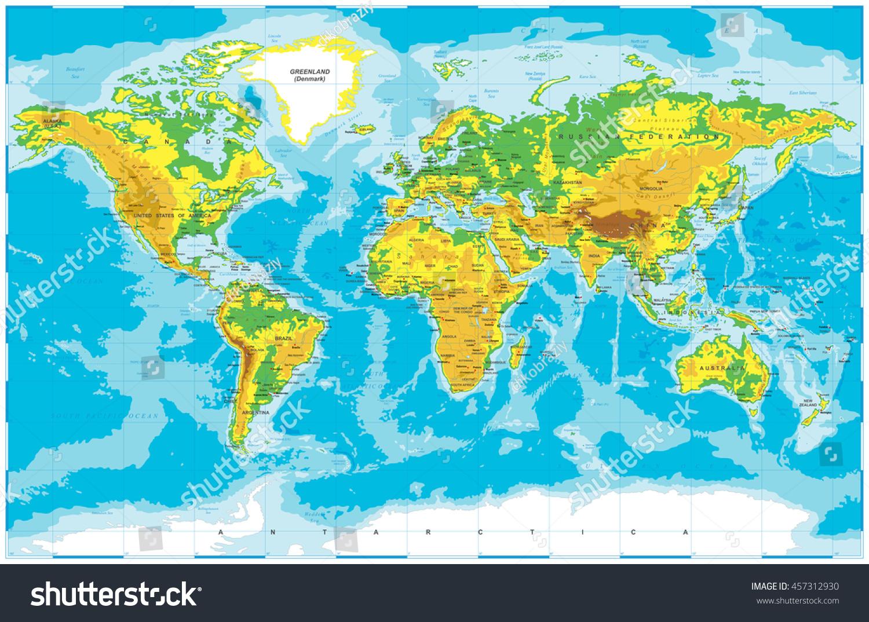 Physical World Mapamerica Centeredphysical World Riverside - Physical world map