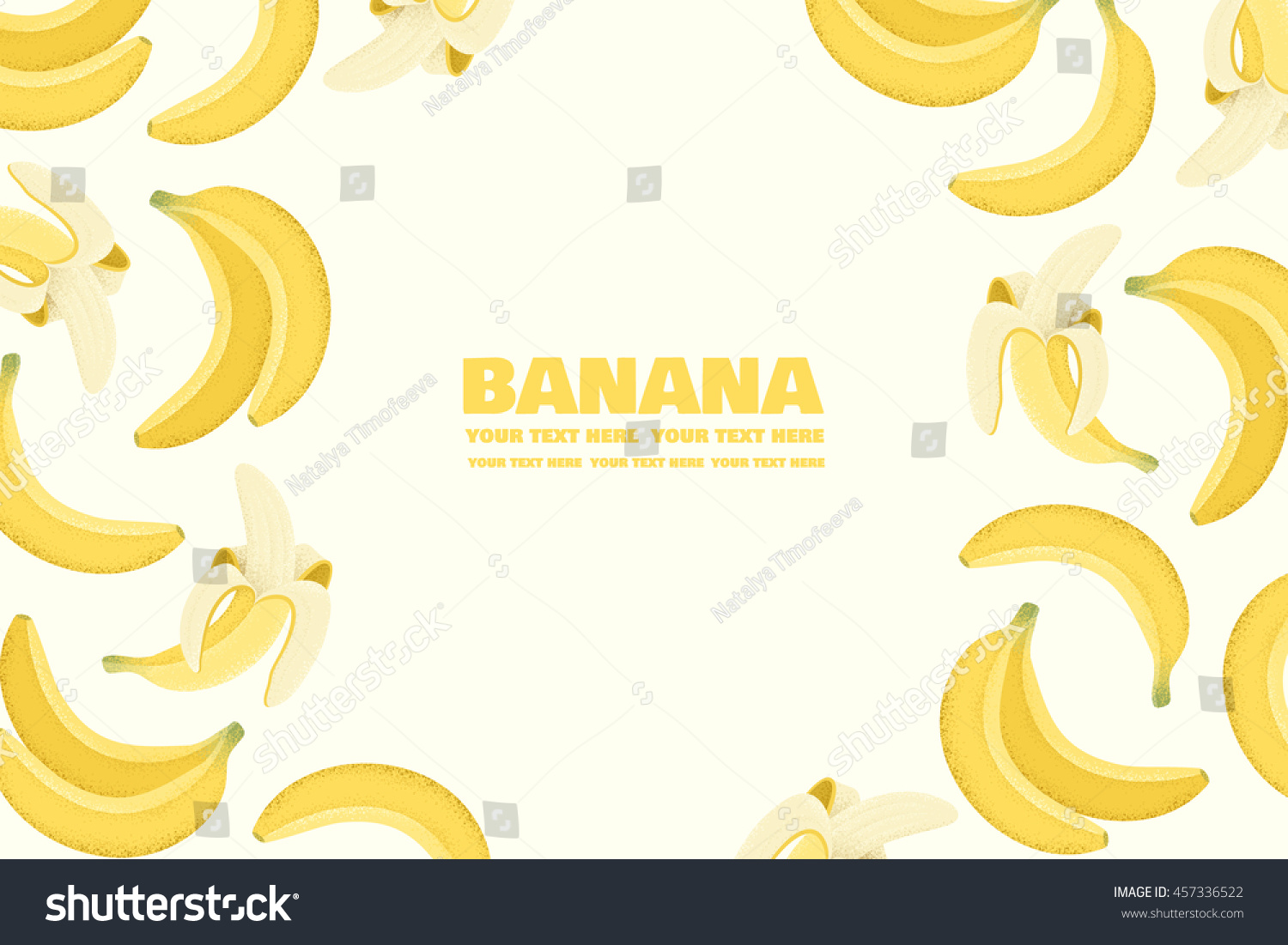 banana horizontal template exotic fruit background stock vector