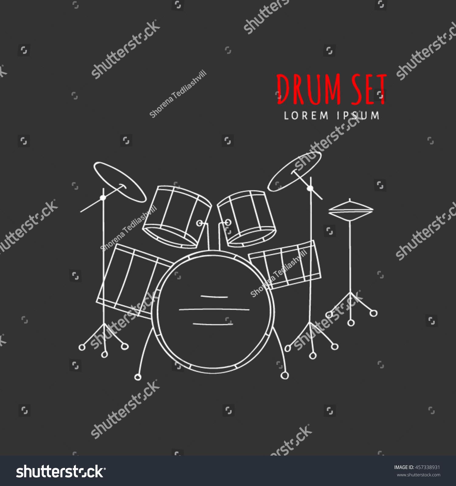 Drum Set Vector Illustration Hand Drawn Stock Vector Royalty Free