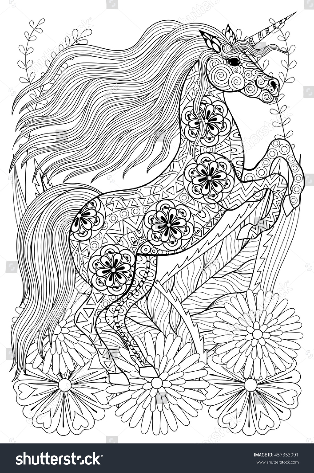 Unicorn face coloring page - Zentangle Stylized Unicorn With Flowers Hand Drawn Ethnic Animal For Adult Coloring Pages Art