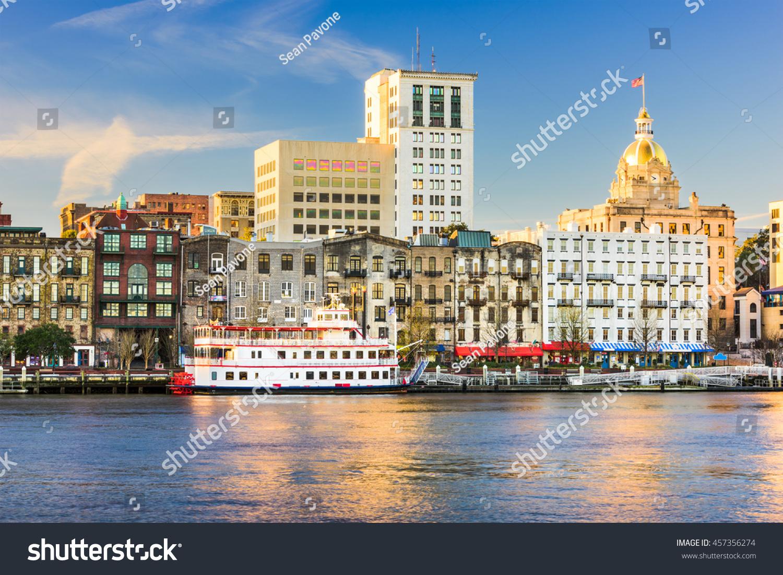 Savannah, Georgia, USA riverfront skyline. #457356274
