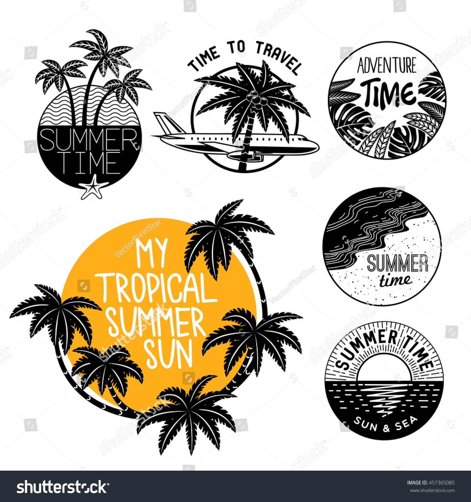 Vector Vintage Pop Art Beach Holiday Illustration Stock: Summer Icons On Holiday Summer Beach Stock Vector