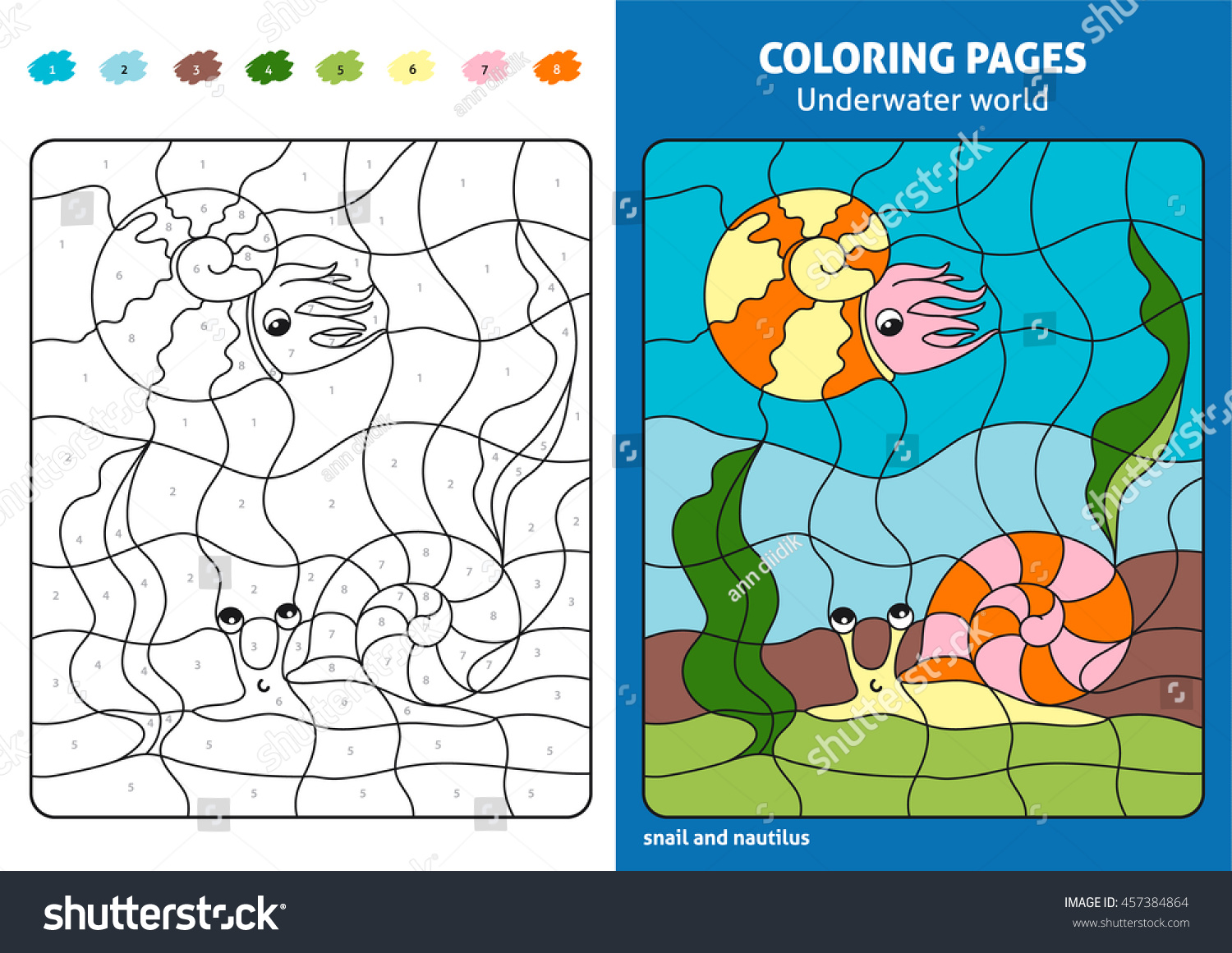 Printable coloring pages underwater - Underwater World Coloring Page For Kids Snail And Nautilus Printable Design Coloring Book