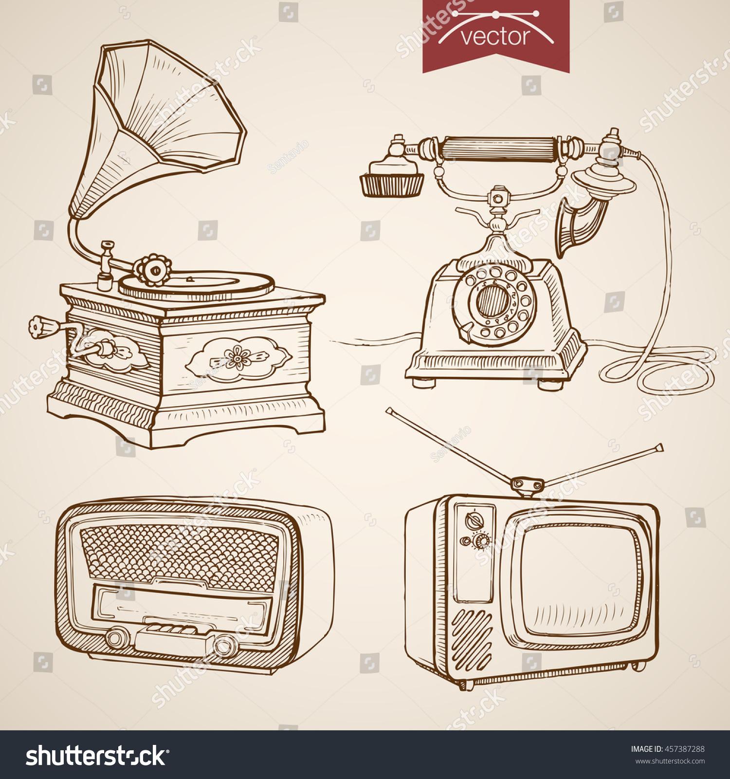 Engraving vintage hand drawn vector video music and sound retro equipment collection pencil sketch phone