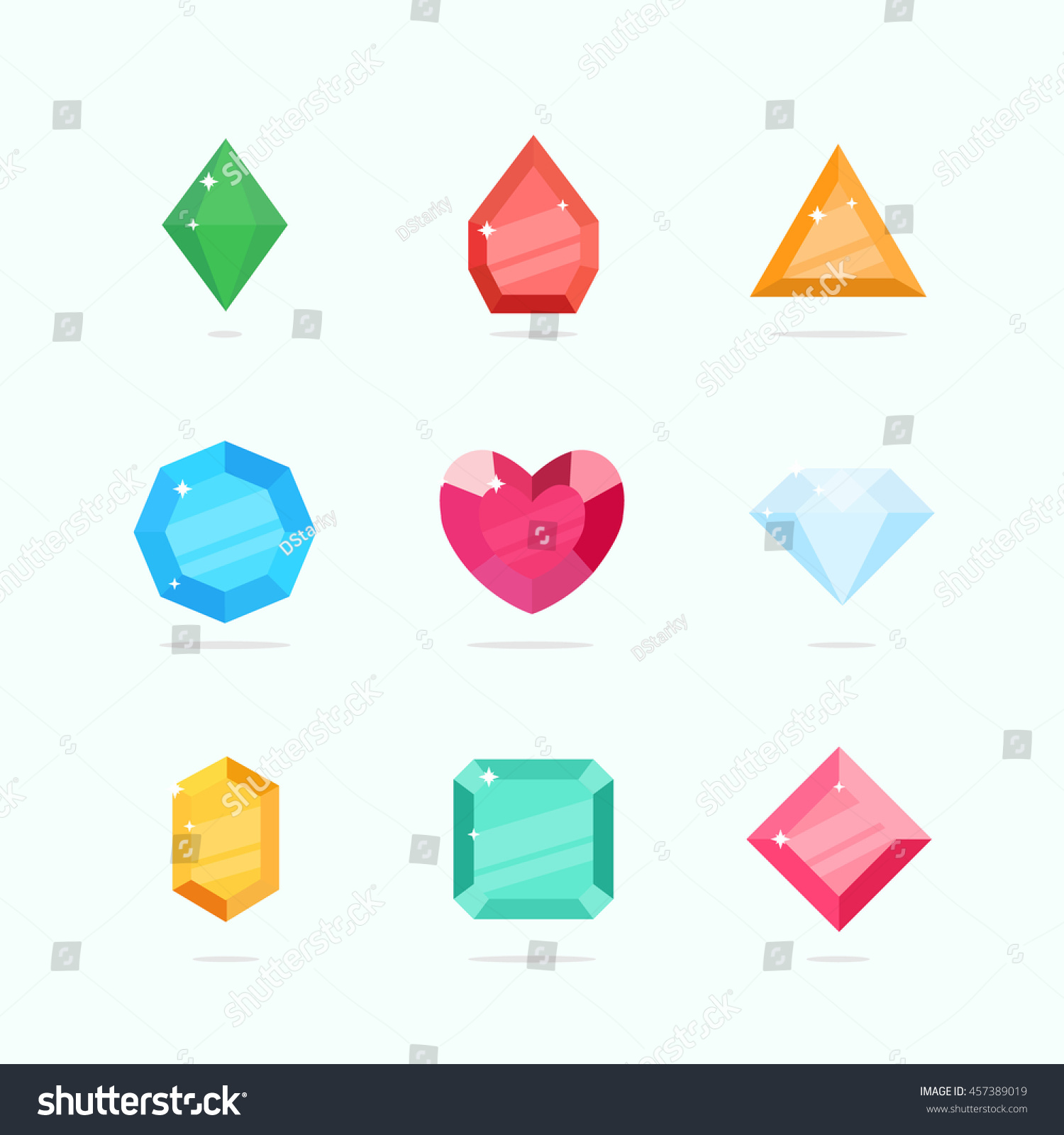 Cartoon Colored Marbles : Cartoon vector gems diamonds set flat stock