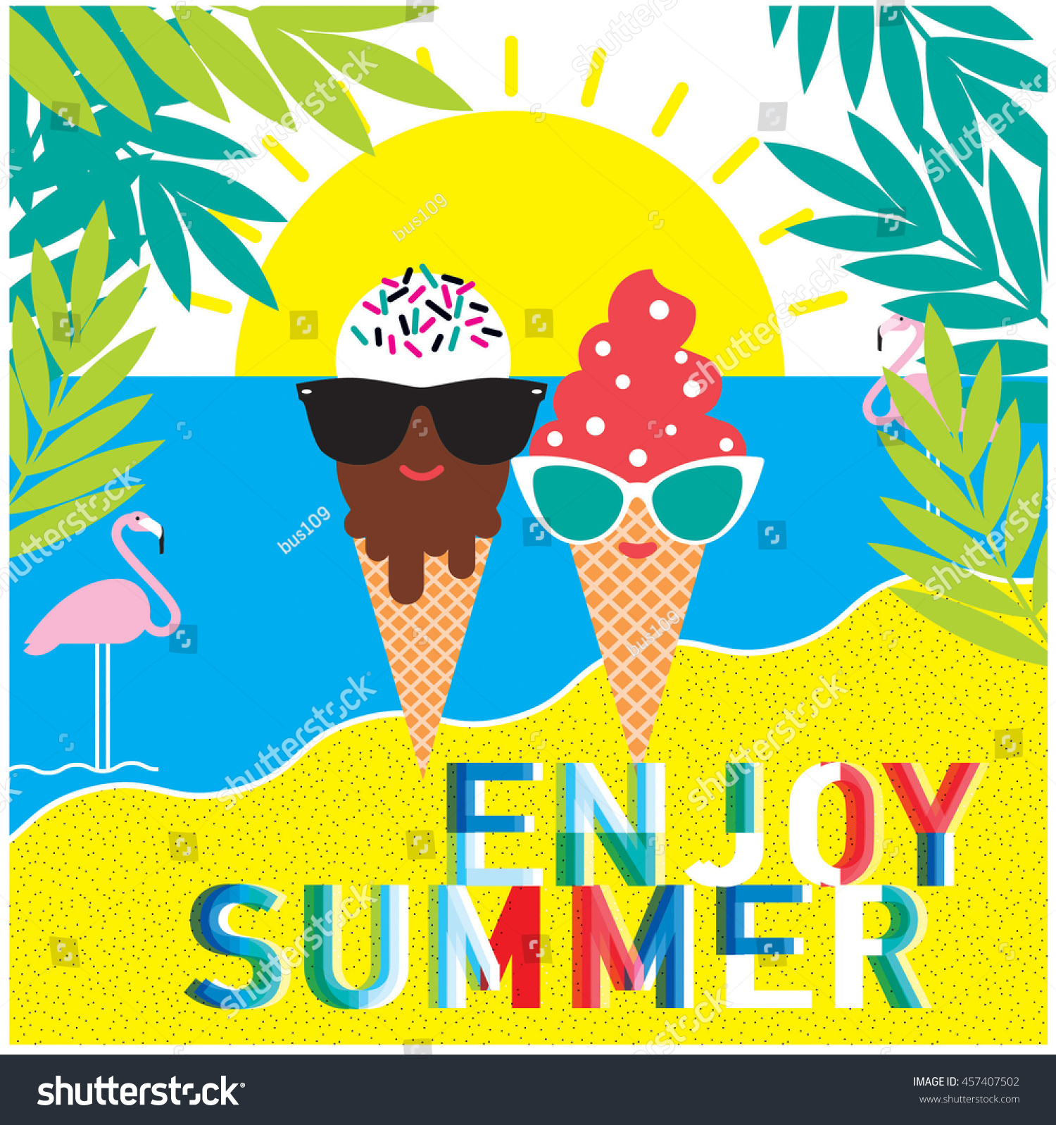 summer poster vector ice cream characters stock vector royalty free