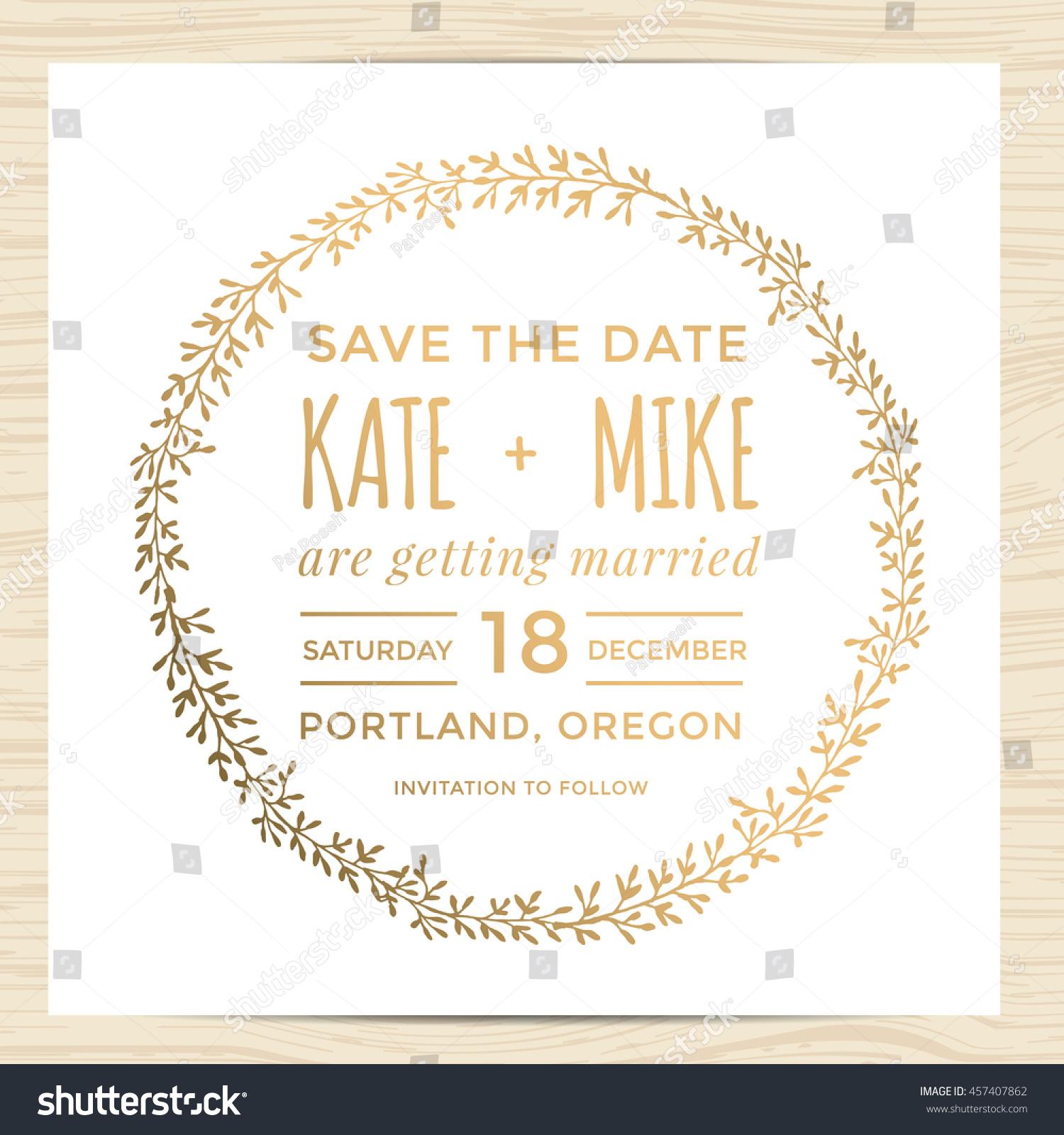 save date wedding invitation card template stock vector 457407862 shutterstock. Black Bedroom Furniture Sets. Home Design Ideas