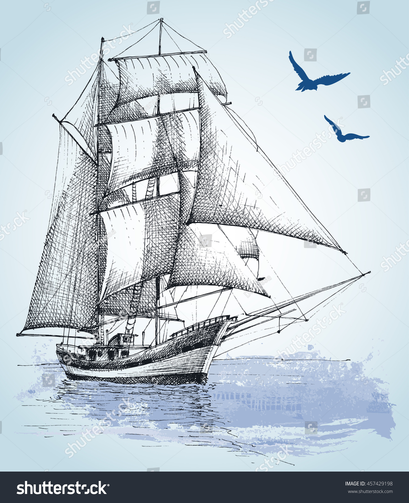 Uncategorized Drawing Of Boat boat drawing sailboat vector sketch stock 457429198 sketch