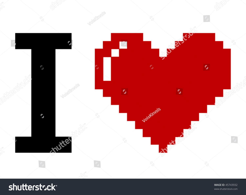 pixel art i love you stock vector illustration 45743932. Black Bedroom Furniture Sets. Home Design Ideas