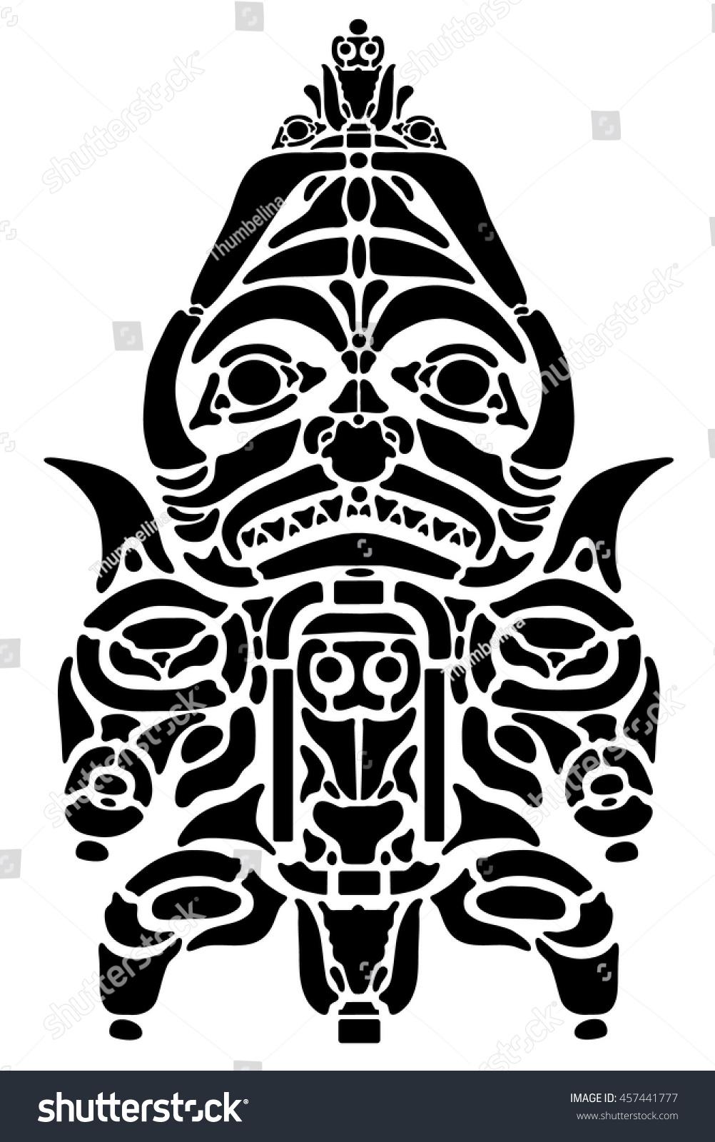 Black Ancient American Tattoo Indian Alaska Stock Vector Royalty