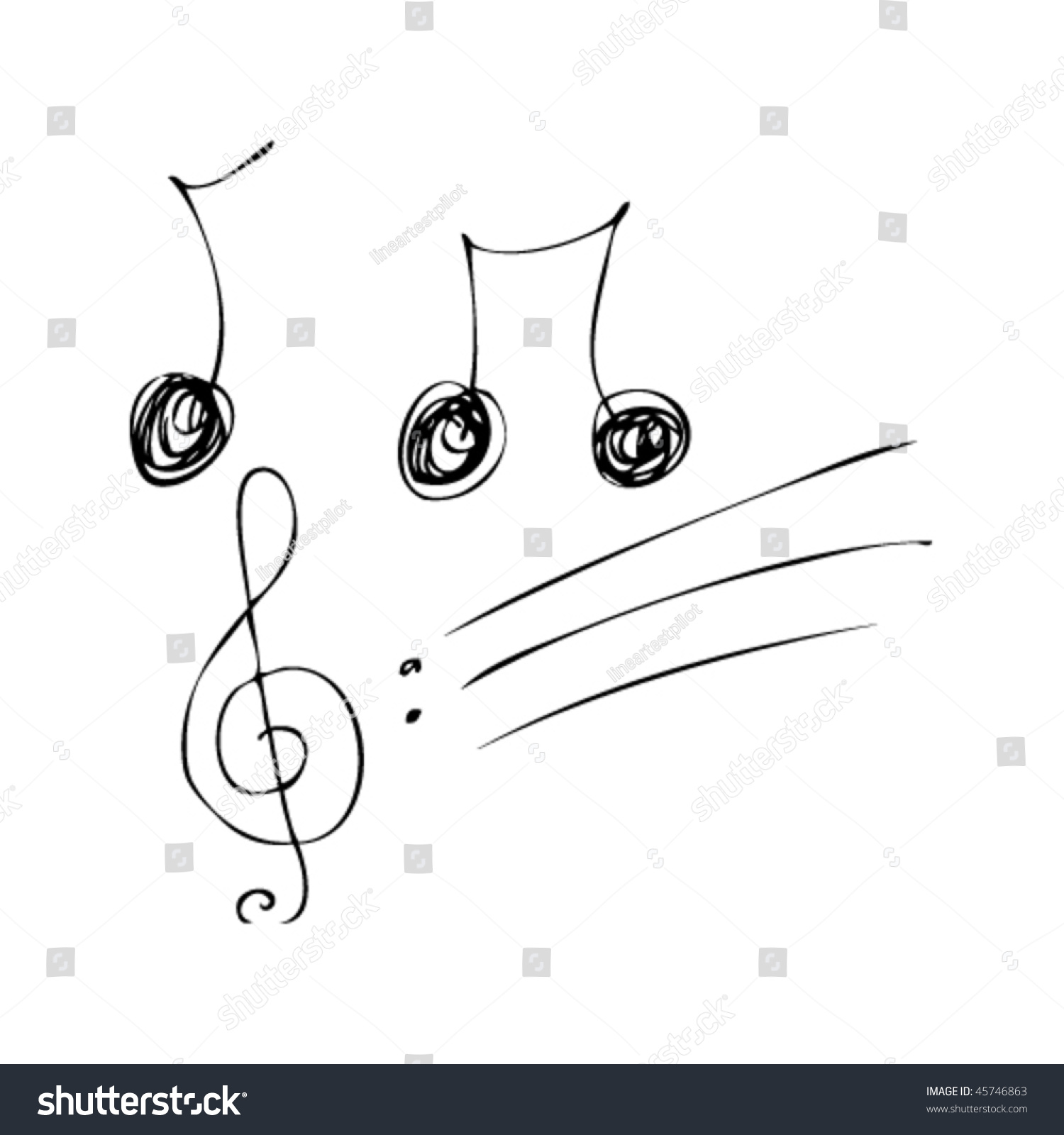 childs drawing music notes stock vector 45746863 shutterstock