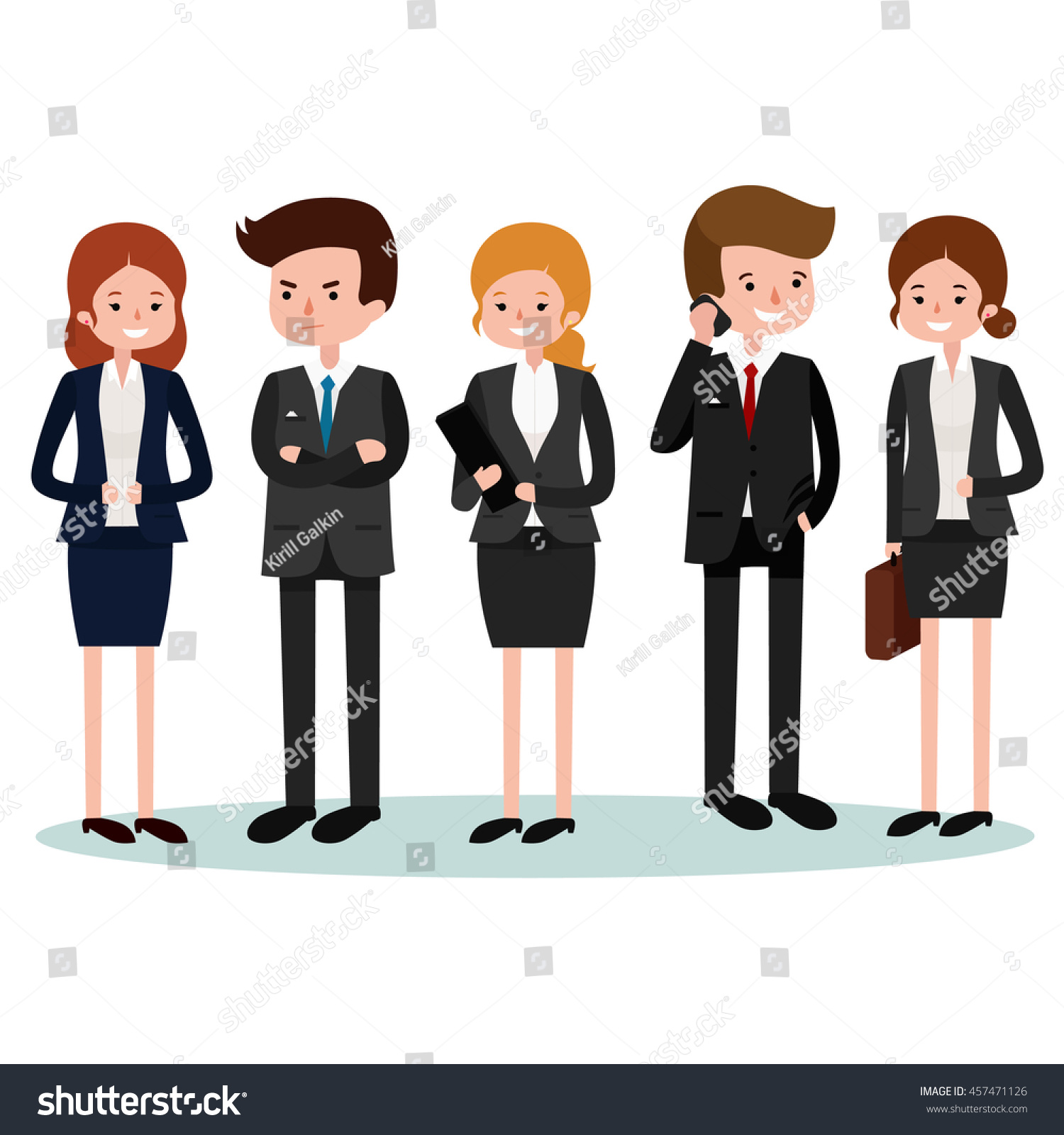 Group Of 6 Cartoon Characters : Business people group office workers stock vector