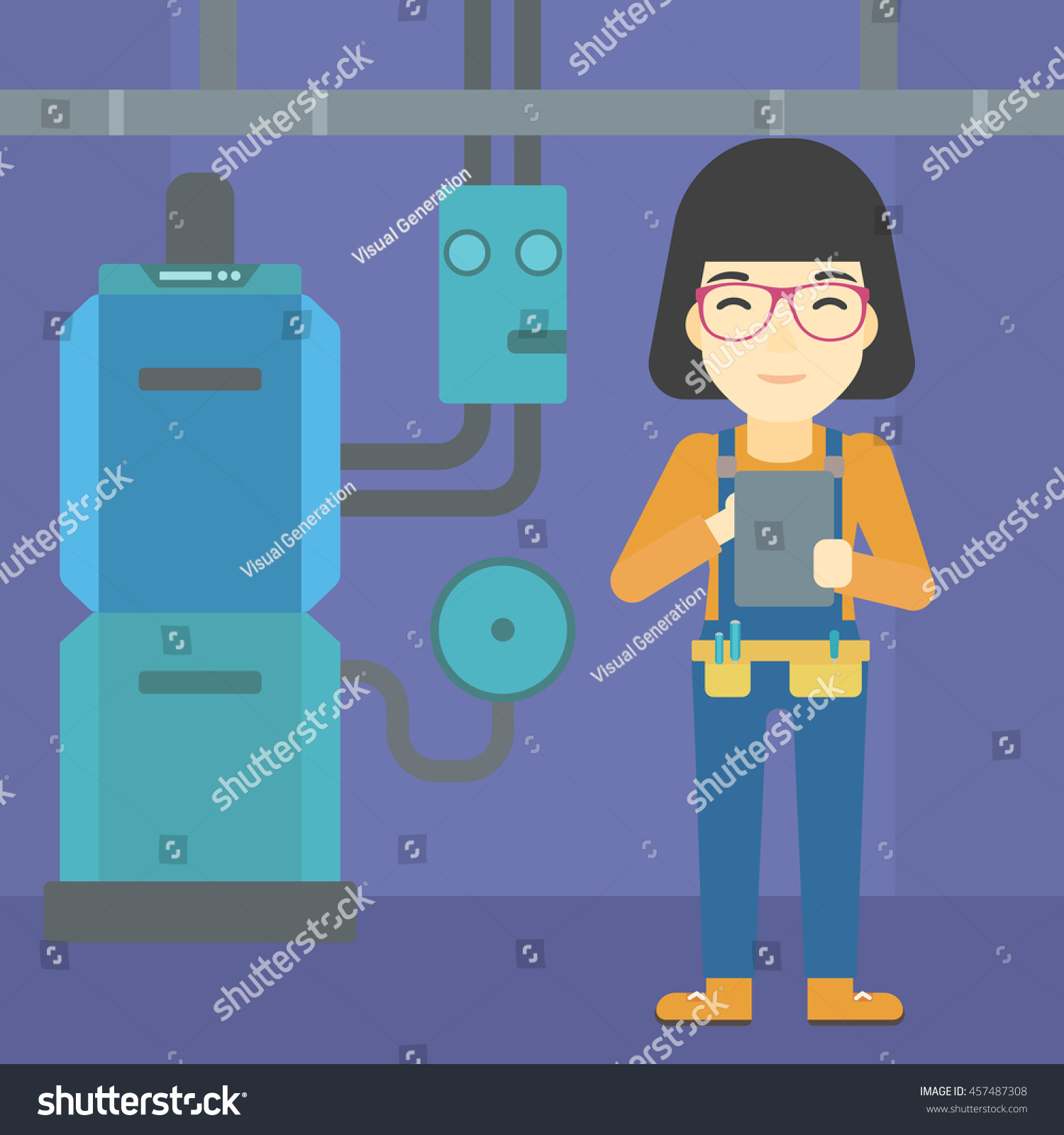 Asian Woman Making Some Notes Her Stock Vector 457487308 - Shutterstock